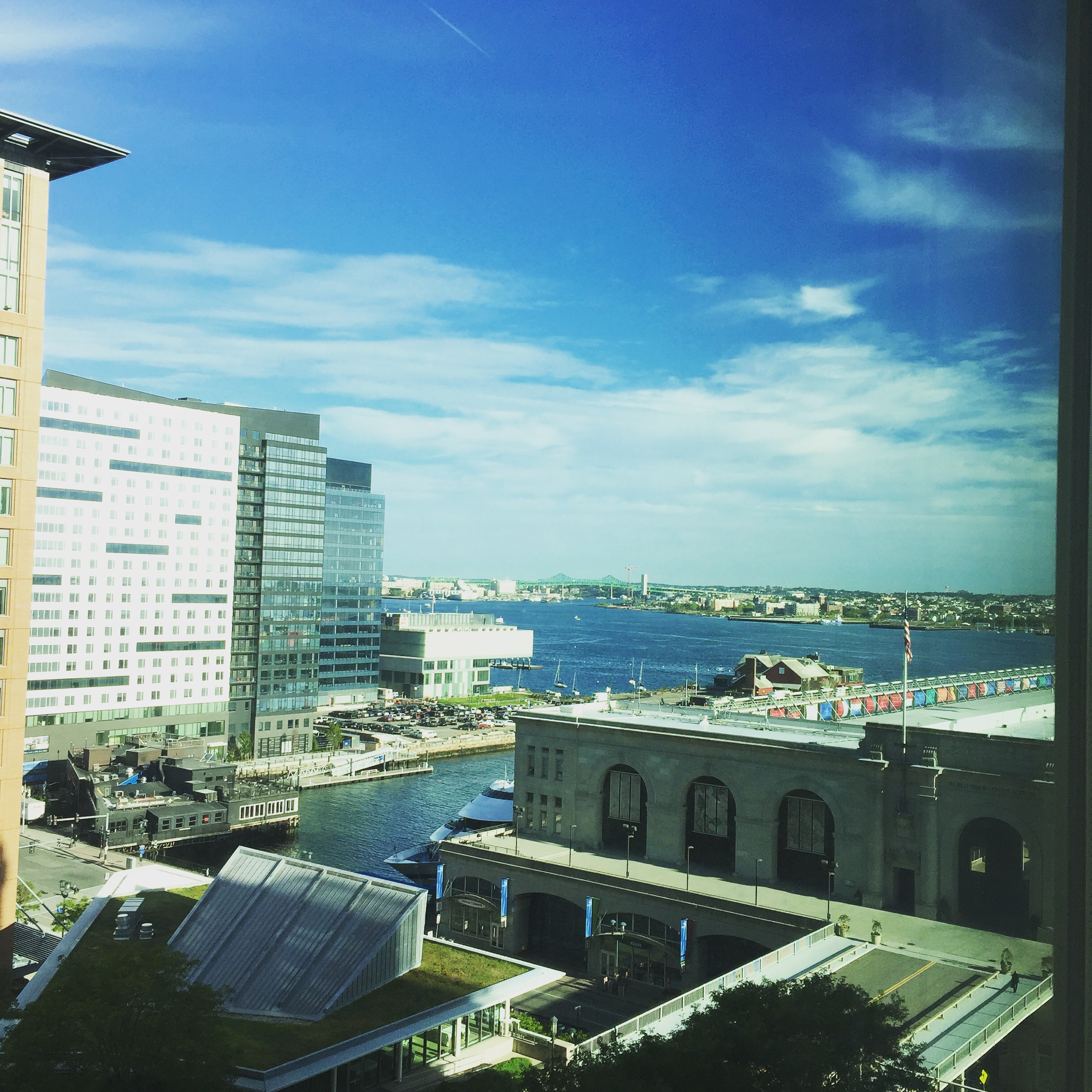 Boston harbor, as seen from our hotel room