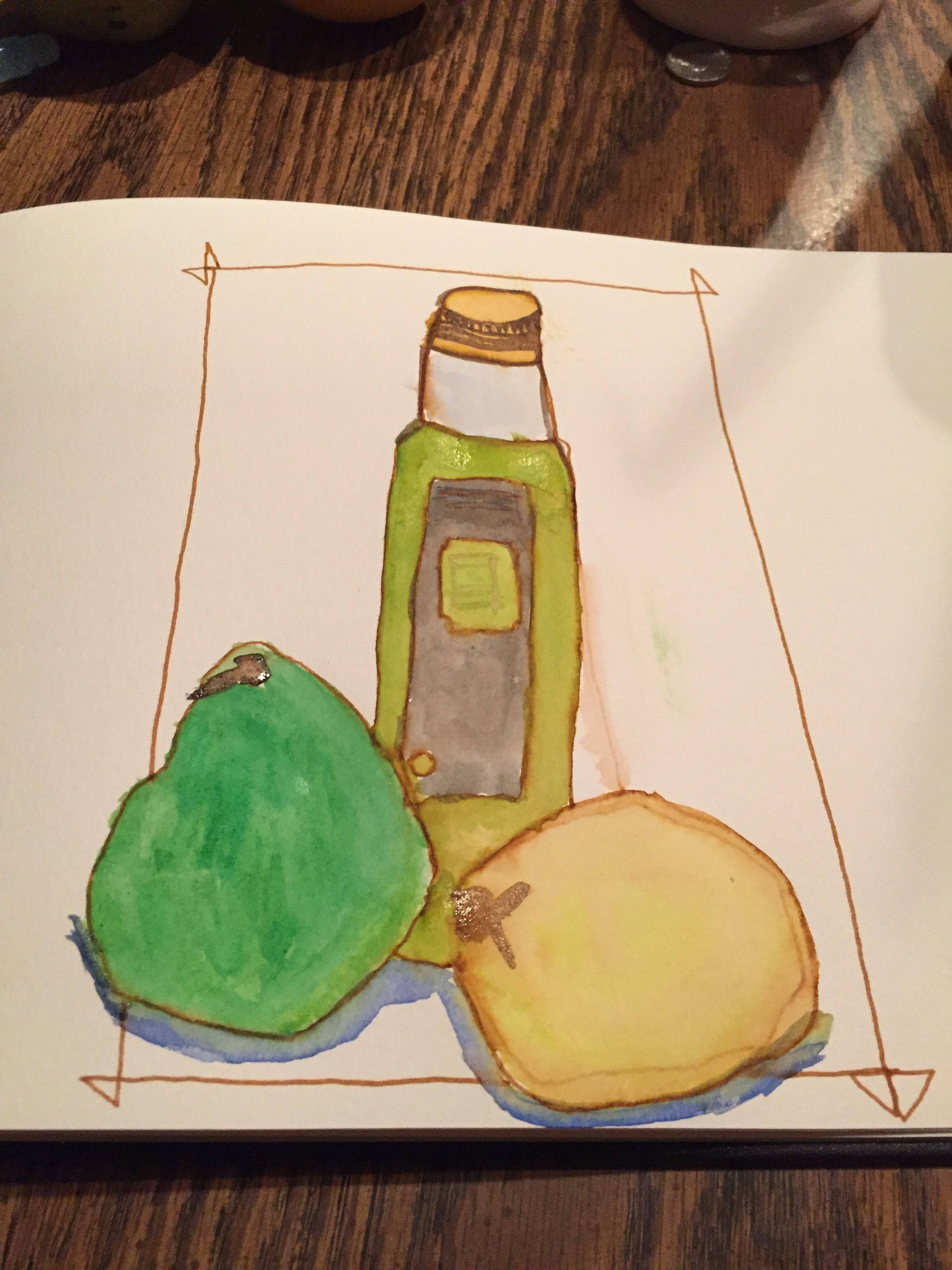lemon, pear, and bottle of olive oil.