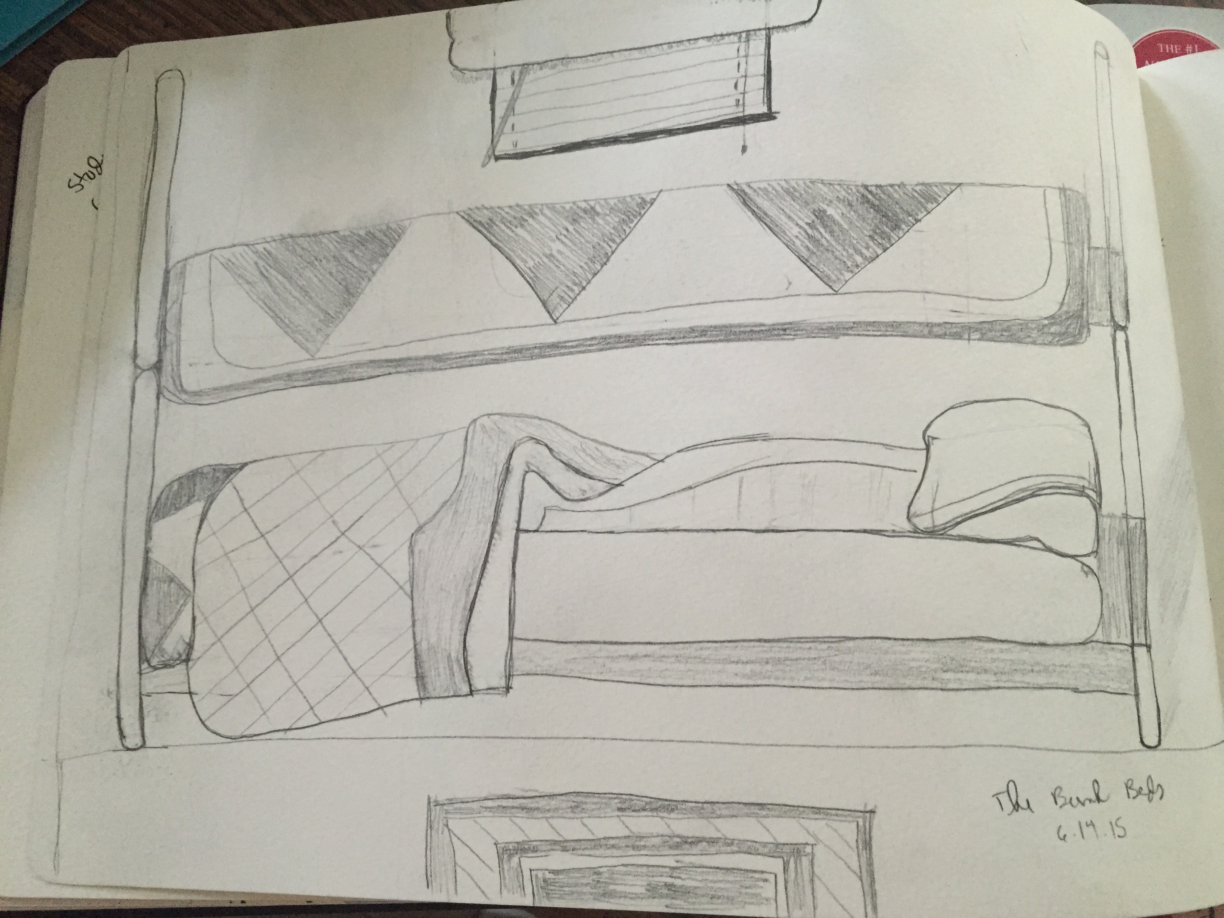 the bunkbeds at my grandma's house. I'm glad I drew this because the beds have since been dismantled.