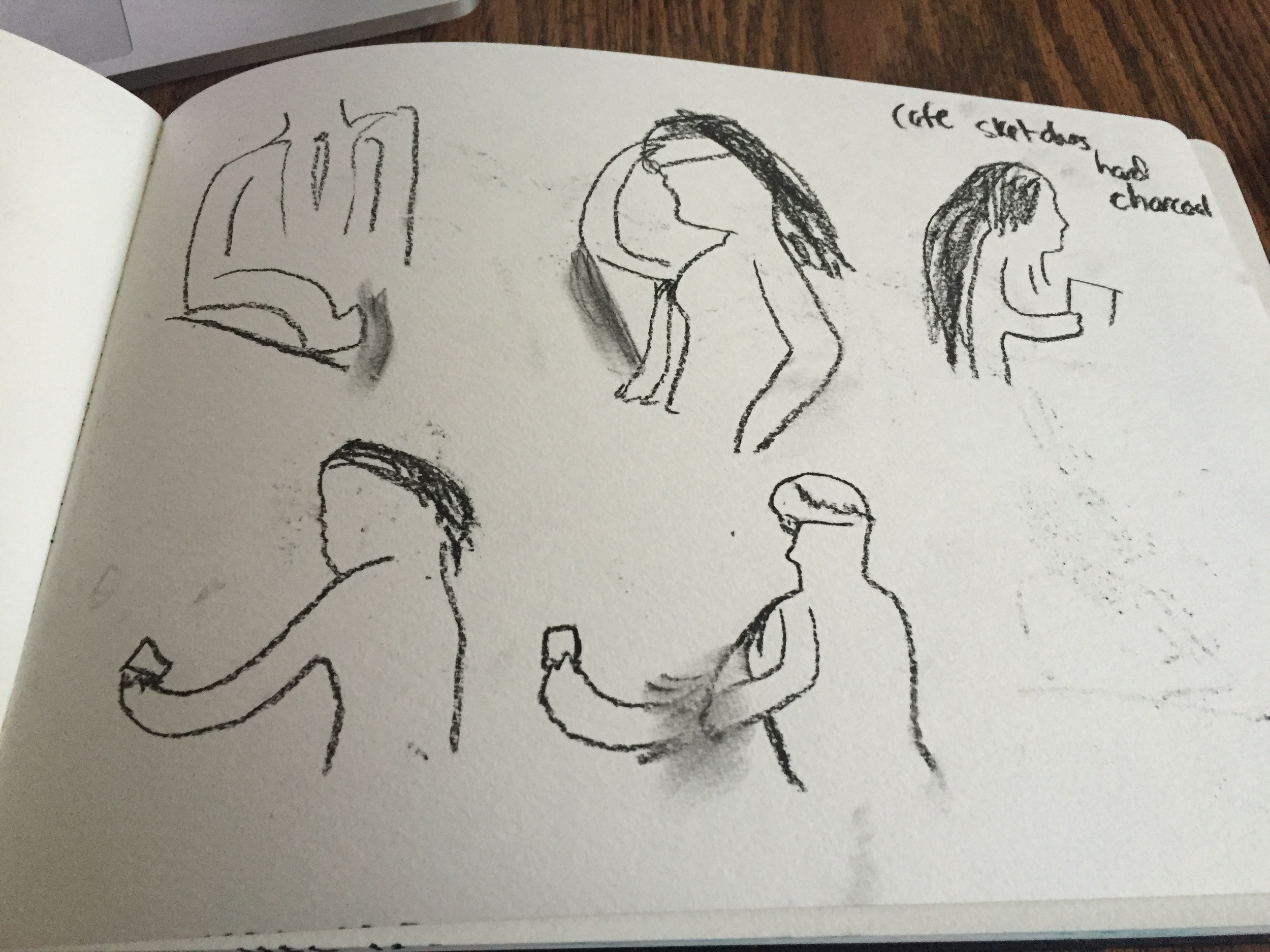 Charcoal movement sketches as part of a SBS assignment. The idea was to catch people doing things, or in poses. So it was mostly line drawings, but I'm glad with what I caught here. The goal wasn't to be realistic.