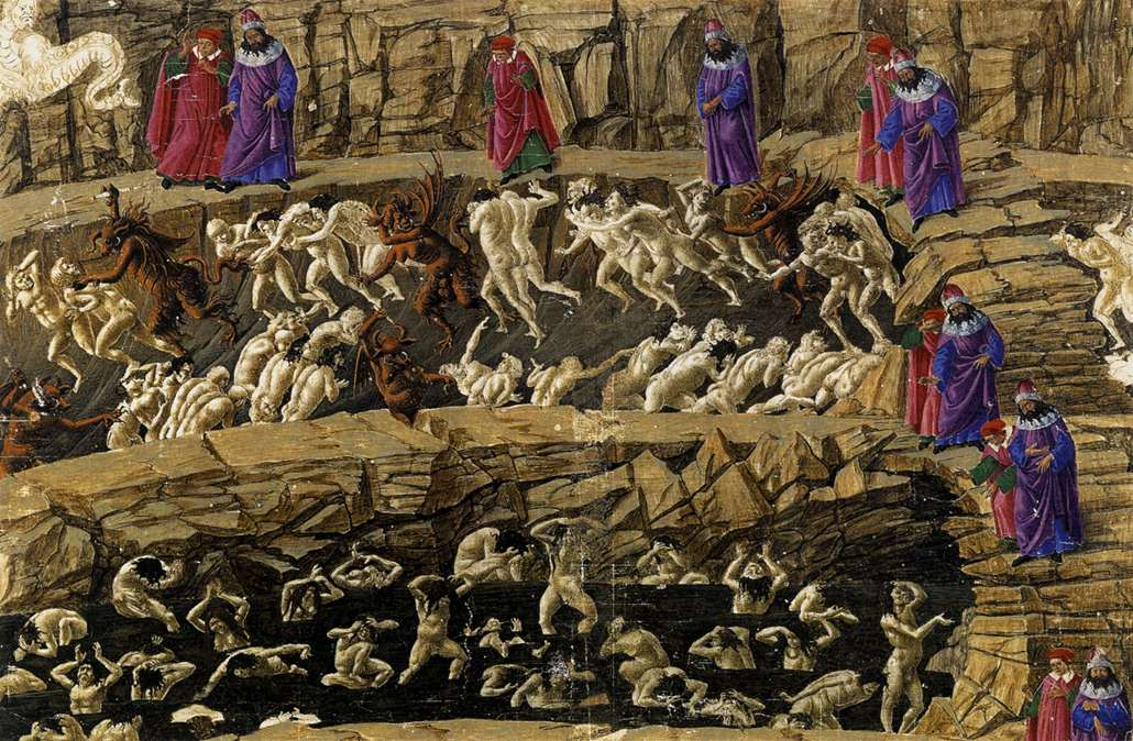 Botticelli, the 8th circle of Hell (based on Dante's Inferno)