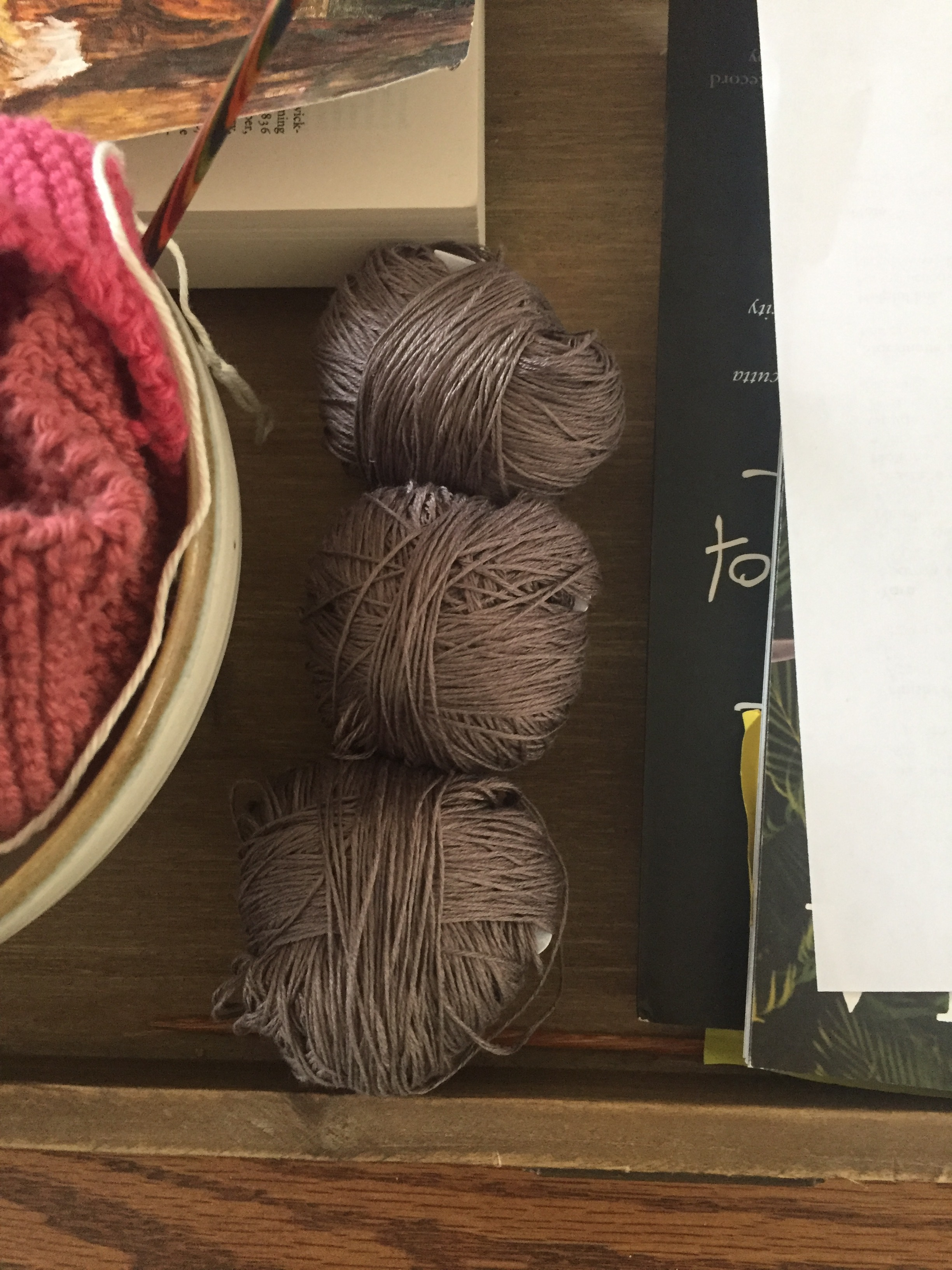"""Quince and Co. Sparrow yarn in Truffle, for the """"test knit""""."""