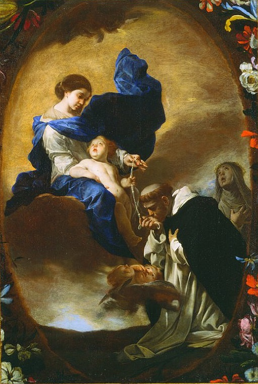 Bernardo Cavallino,  St. Dominic receiving the Rosary from the Virgin