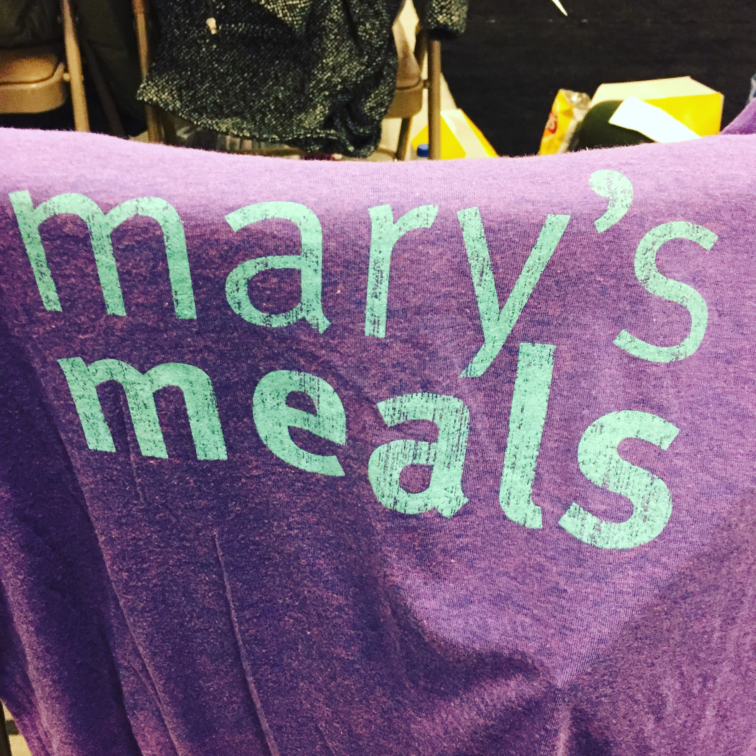 One of the Mary's Meals t-shirts I picked up at the Columbus Catholic Women's Conference last weekend.