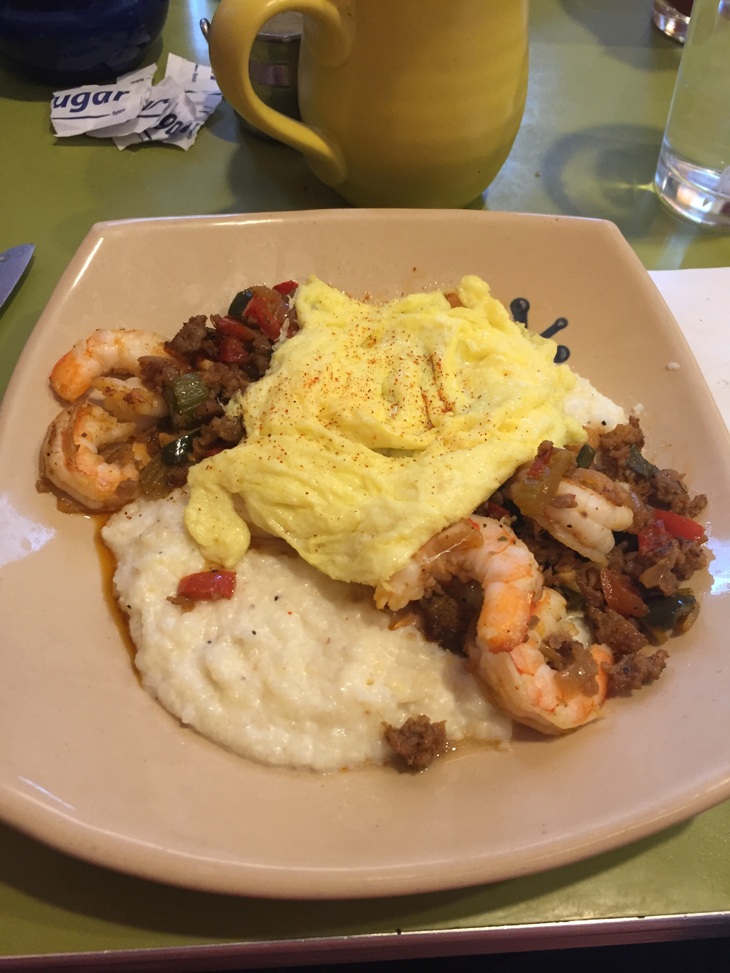 Shrimp and grits do not need eggs. They are glorious as they are. (And these were glorious.)