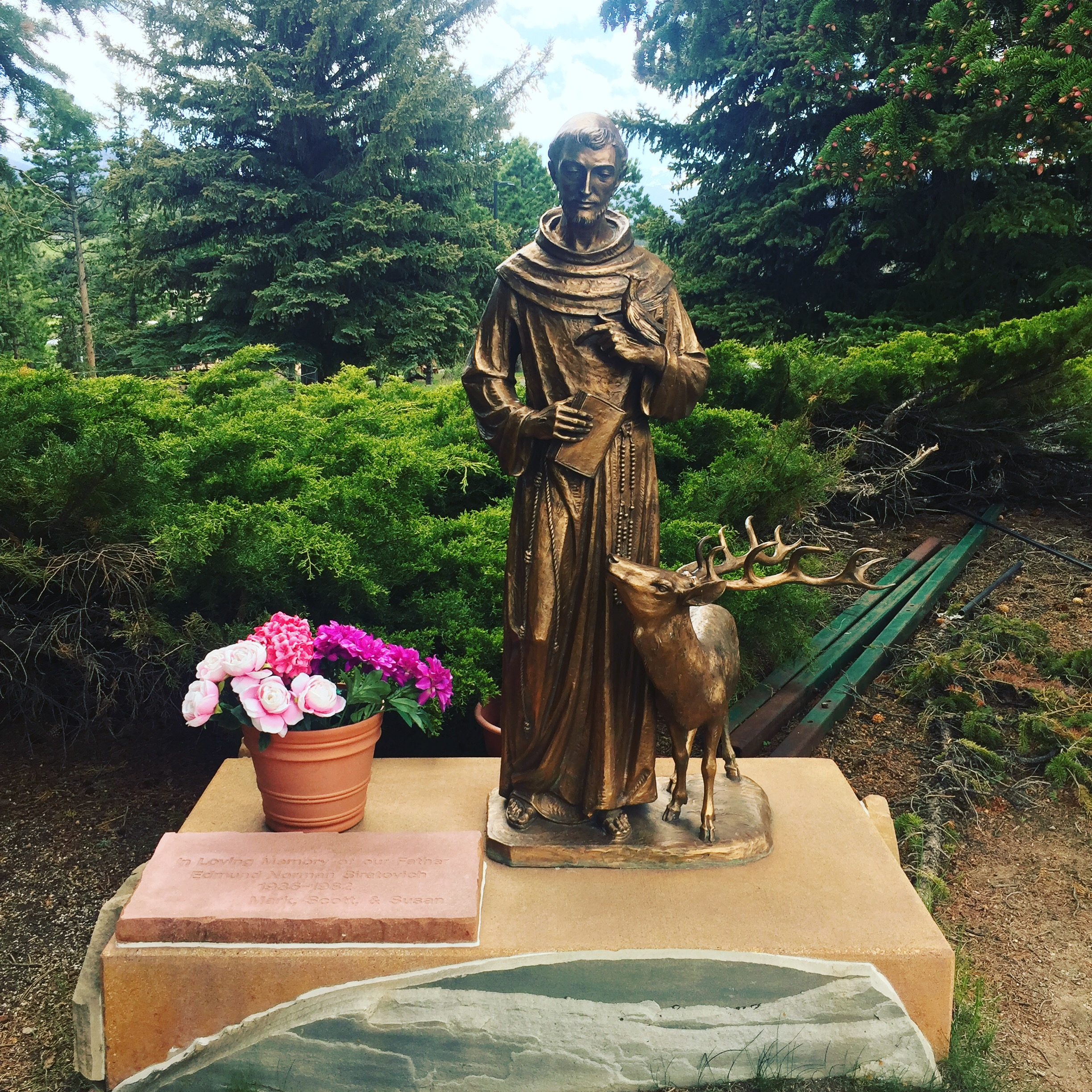 St. Francis with Brother Elk. I saw quite a few people coming to pray here while we were there. It seems like a really popular devotional spot in Estes Park!