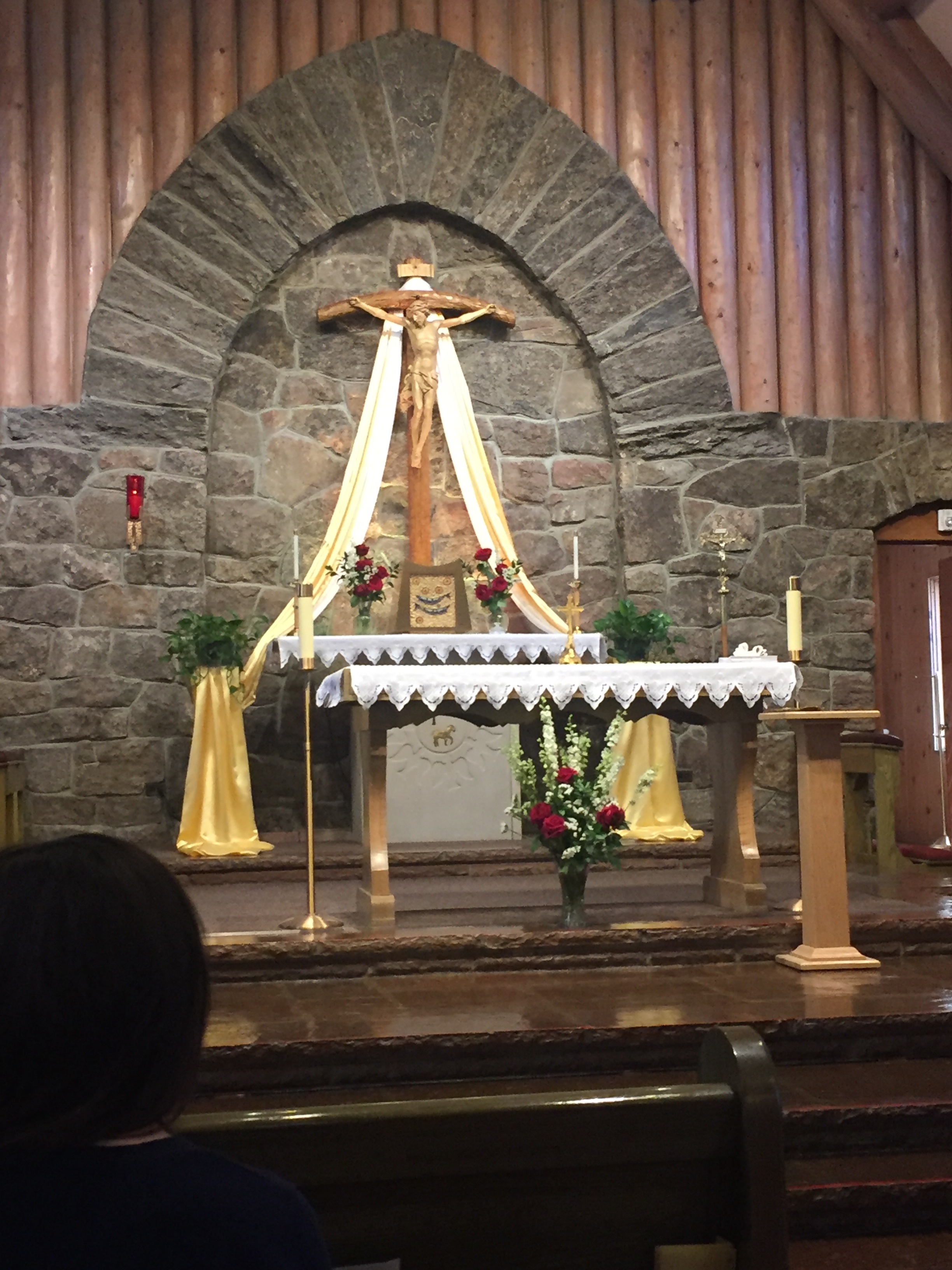 The altar and tabernacle—the tabernacle has the five loaves and two fishes on it.