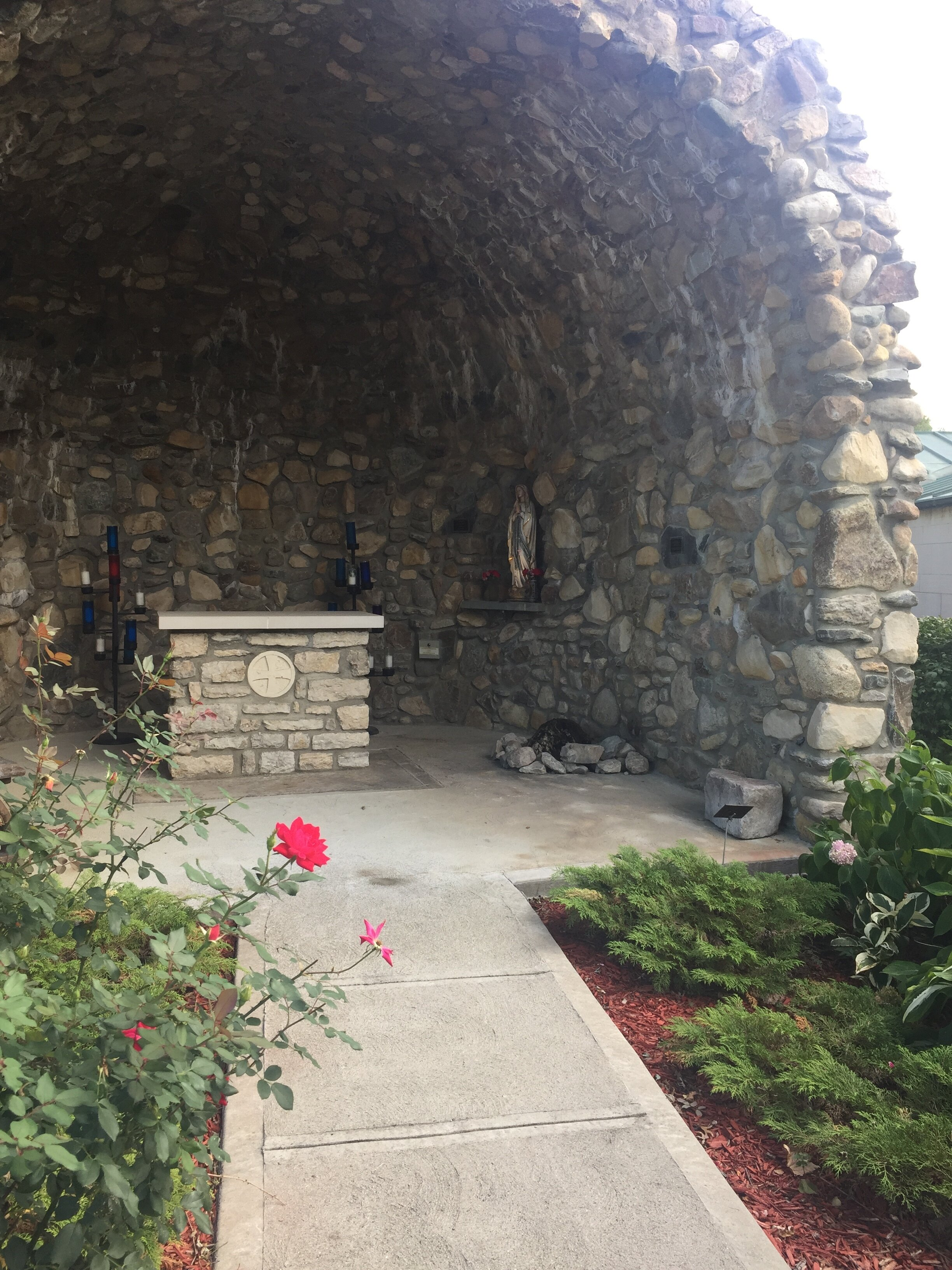 The Lourdes Grotto on the property