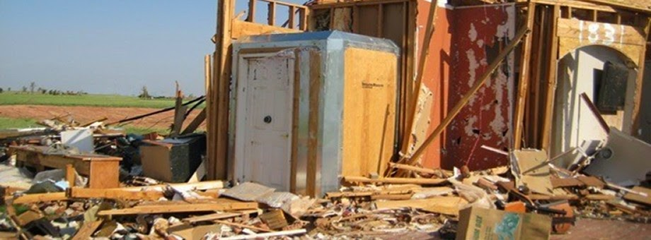 This is an actual photo of a StormRoom™ made with DuPont™ Kevlar® that was struck by an EF-5 tornado in Piedmont, Oklahoma.  The homeowner and his three beloved pets were inside the shelter at the time. The home was completely destroyed, while the StormRoom™ remained completely intact. Are you wondering how this is possible?    Click here to get more information.
