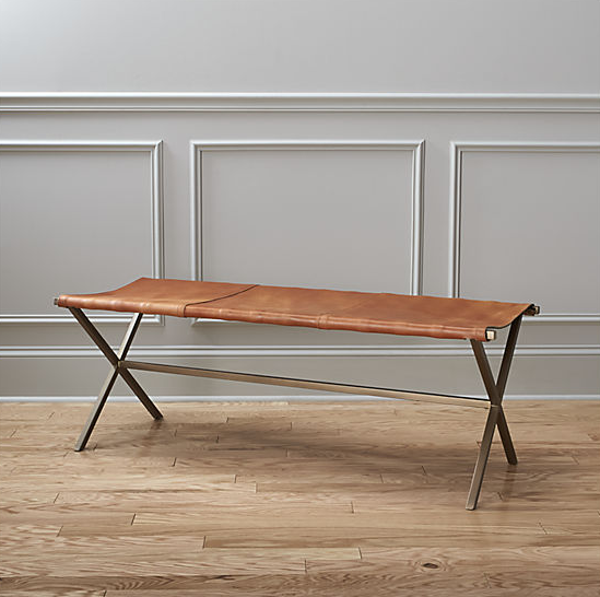 Leather Director's Bench  $449 The perfect combo of leather + brass... I love the idea of this in an entry way or reading nook with an ikat pillow and mud cloth throw draped over the edge.