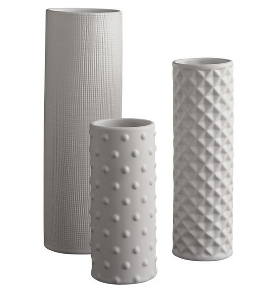 3-piece vase set  $14.95 You can never have too many white vases! These are great with flowers or all by them selves as styling pieces.