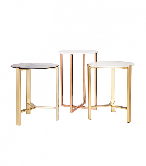 Round Gold Accent Table with Marble Top (far right) $89.99