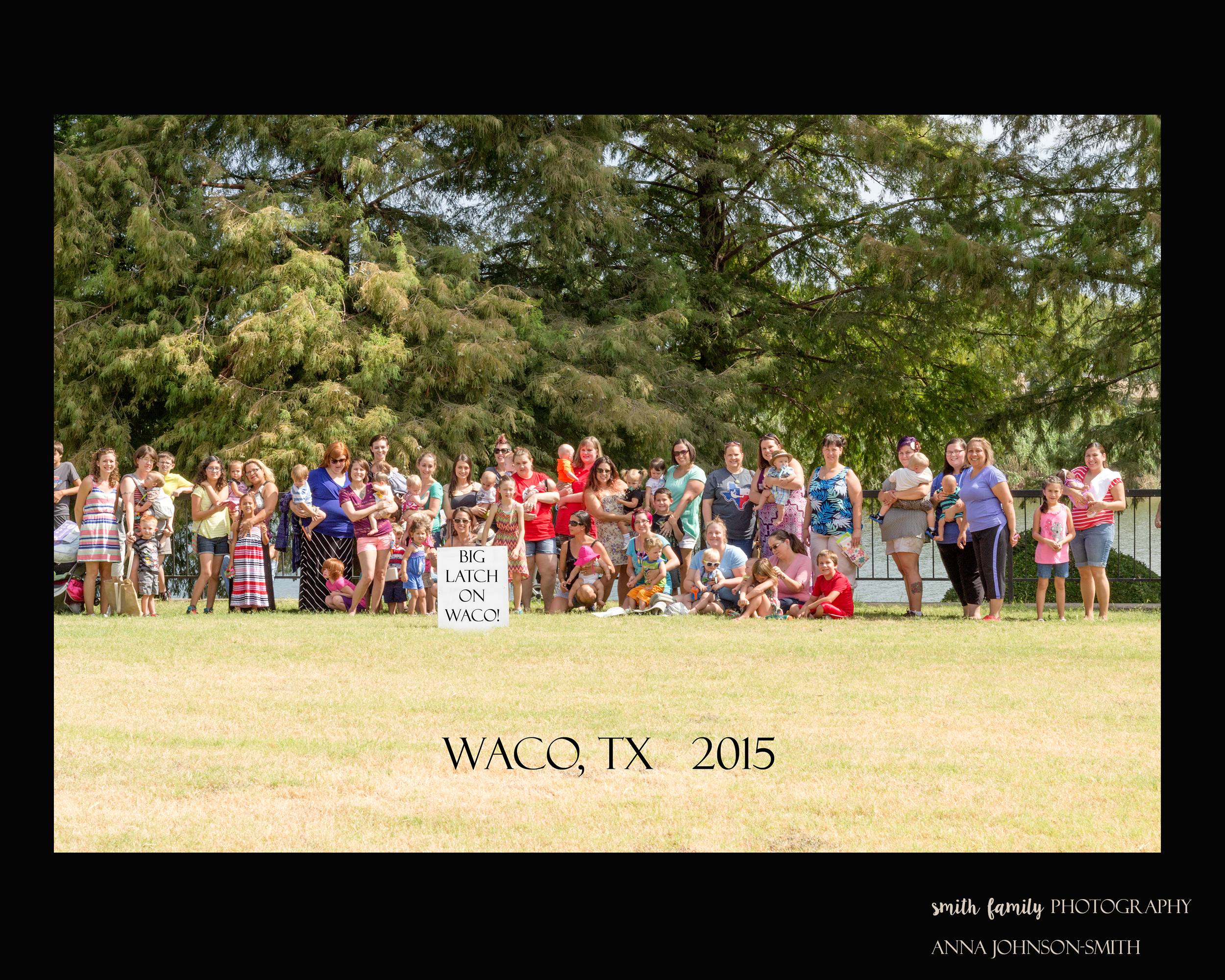 The group photograph for the Big Latch On in Waco, 2015.  There were 22 successful latches!