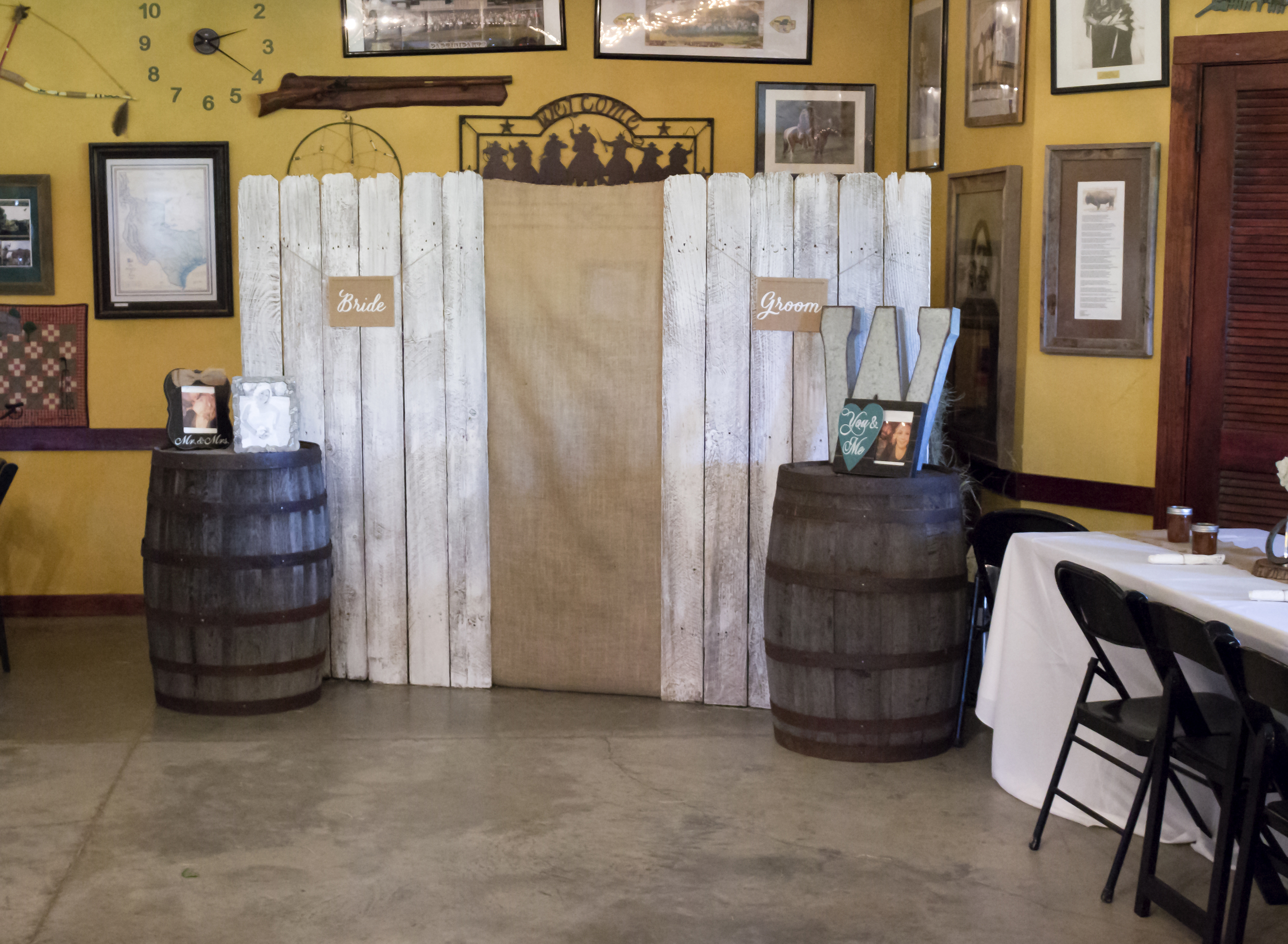 The Visitor's Center at the Historic Old Fort Parker site in Groesbeck, Texas was a wedding venue.  The wedding had to be moved indoors due to recent flooding on the grounds.