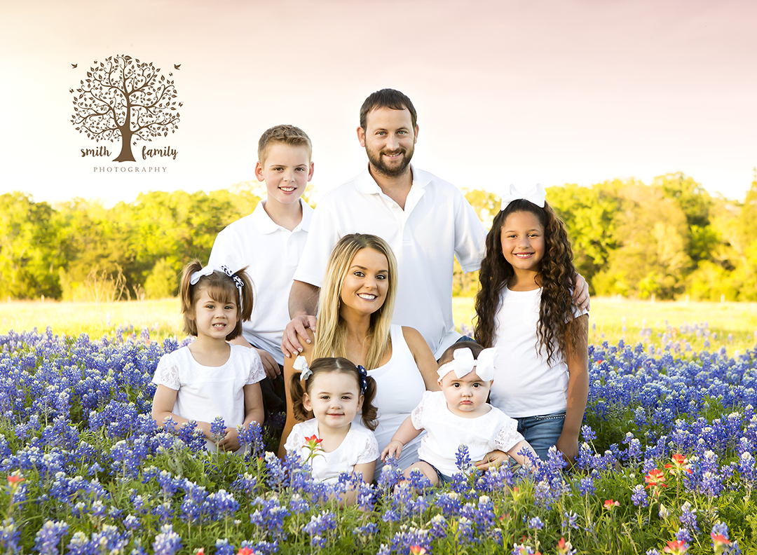 Johnson Family at a fresh bluebonnet patch on private property in Limestone County.