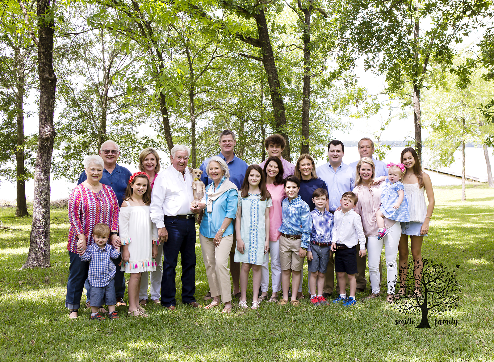 The whole group photograph of the family celebrating grandma's 75th birthday.