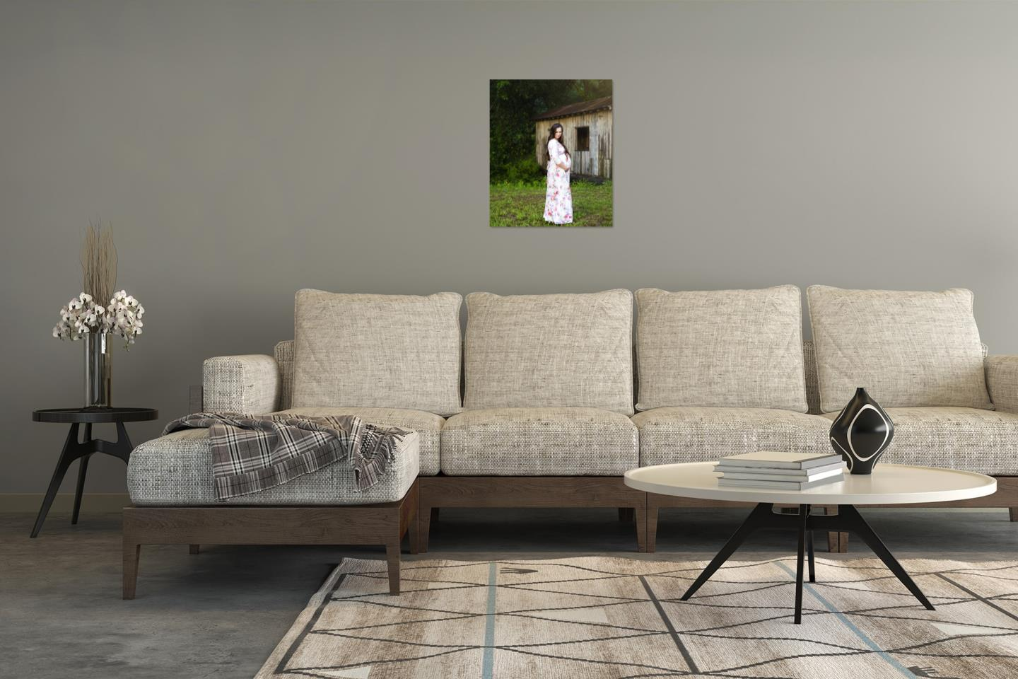 Here is the way a 16x20 piece of wall art would look on this wall.
