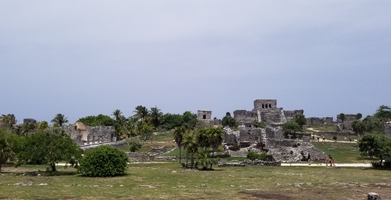 A view of the Tulum ruins from the hillside away from the tourists.