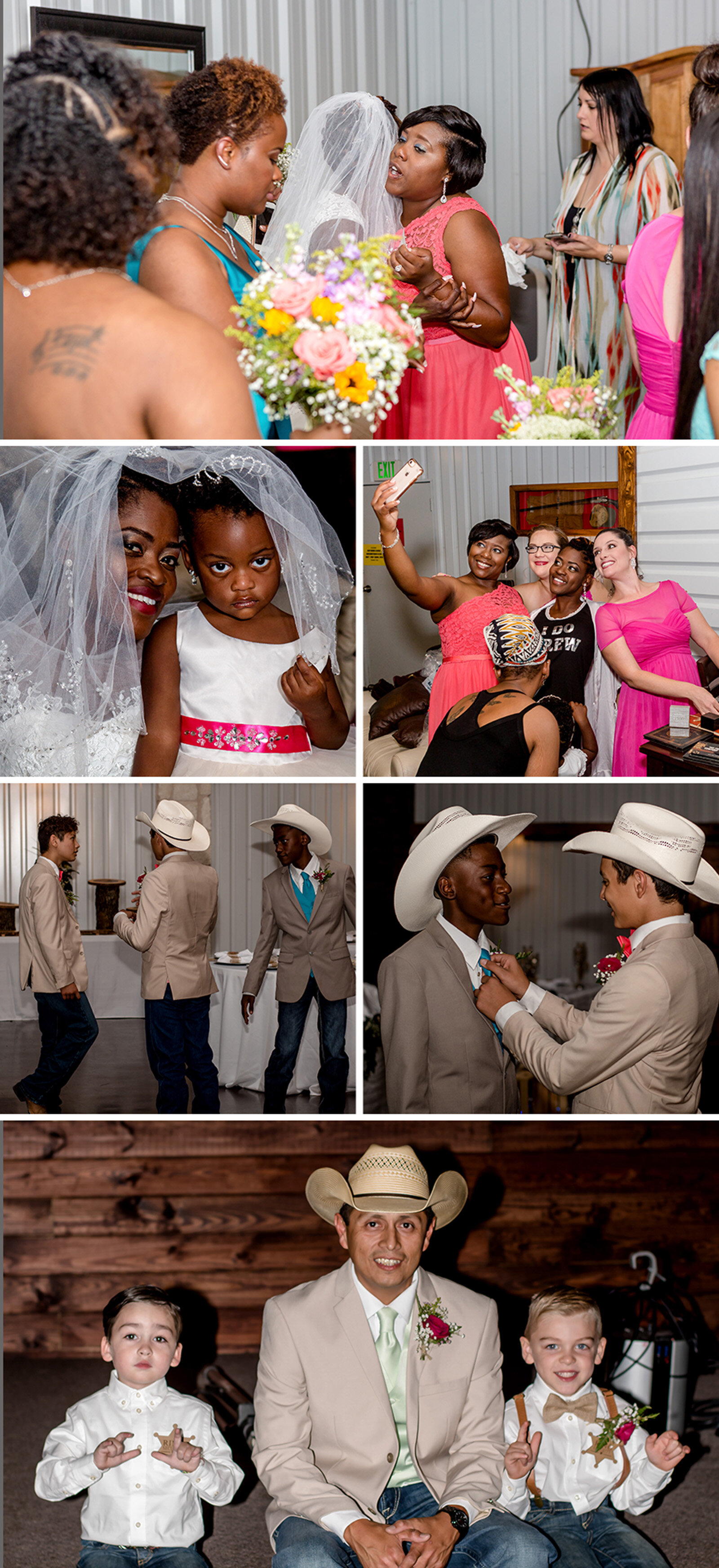 A look at the bride and groom (and their children) getting ready for their big day!