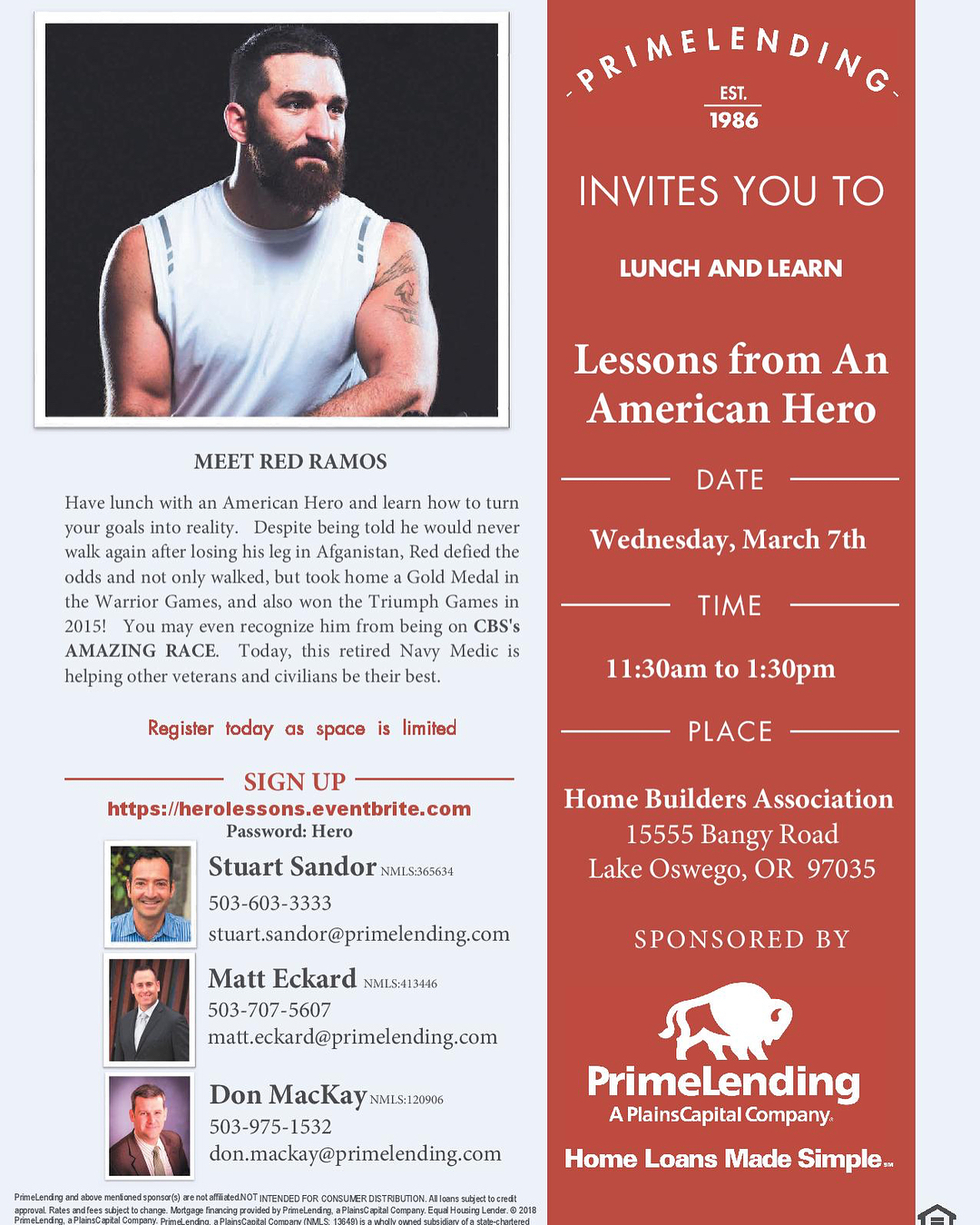 "YOU are invited to have Lunch & Learn from an American Hero.  Find out how Red Ramos turned adversity into action having lost his leg while serving in Afghanistan. After winning the ""Warrior Games"" he was invited to be on CBS TV's ""Amazing Race"""
