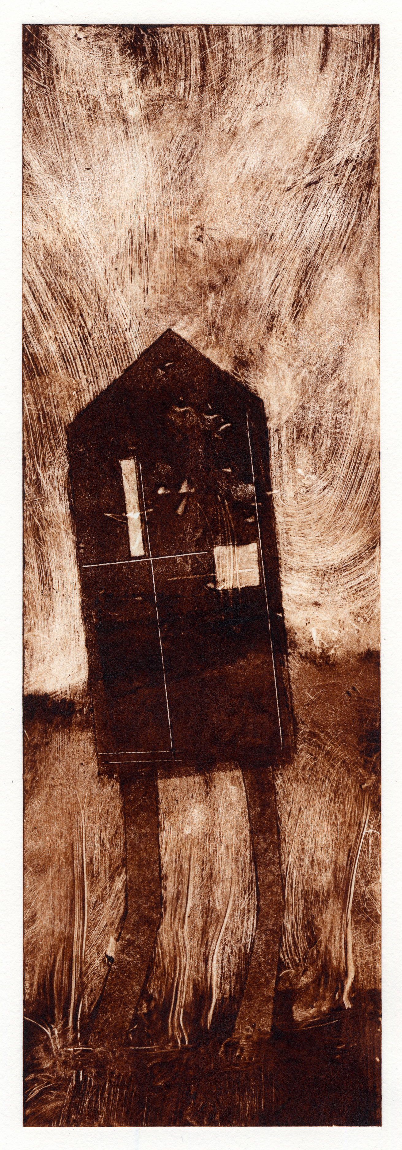A monotype print by Clive Knights from his dwelling study in umber