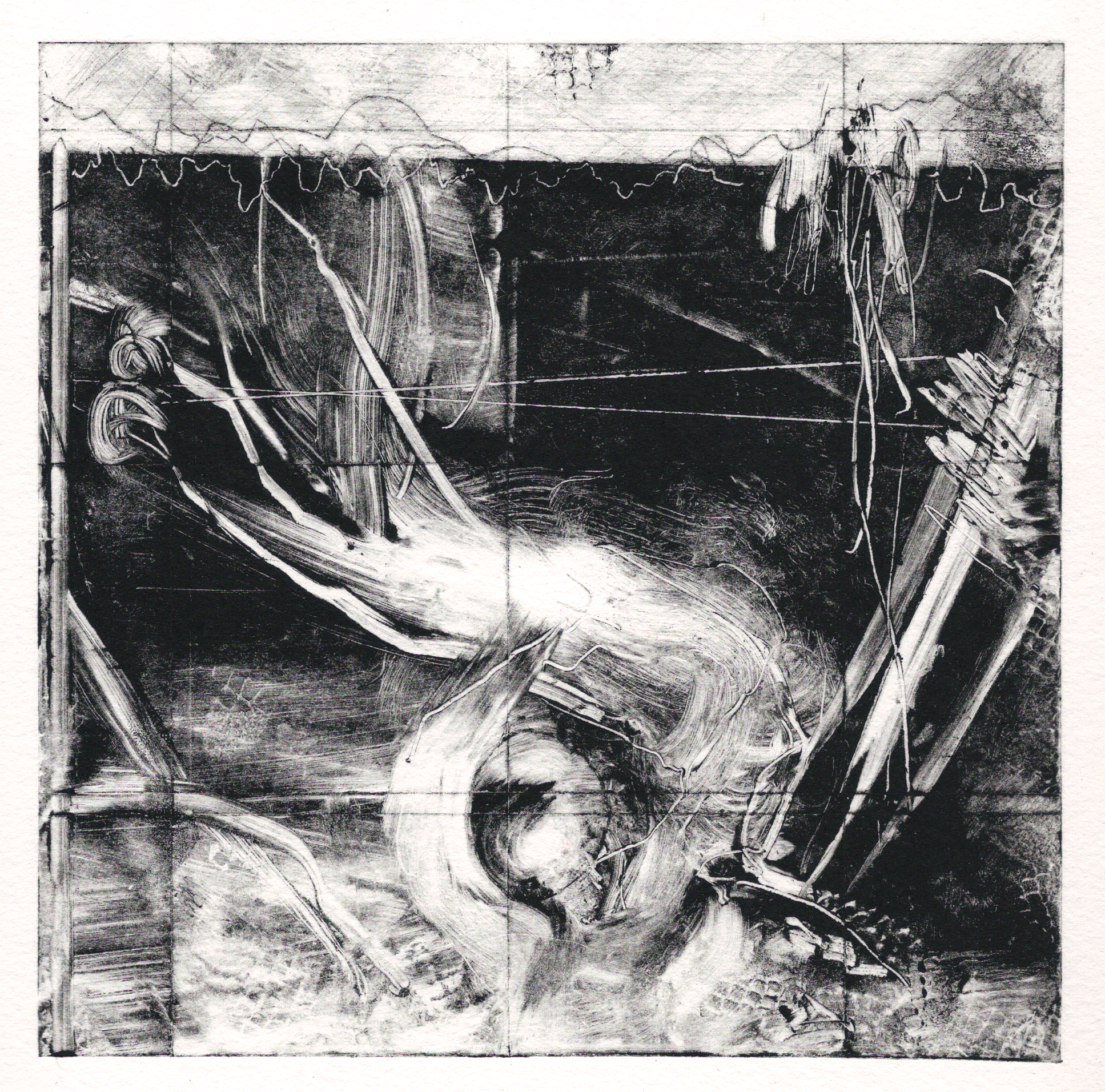 A print, ink on paper, by Clive Knights from his Earth collection