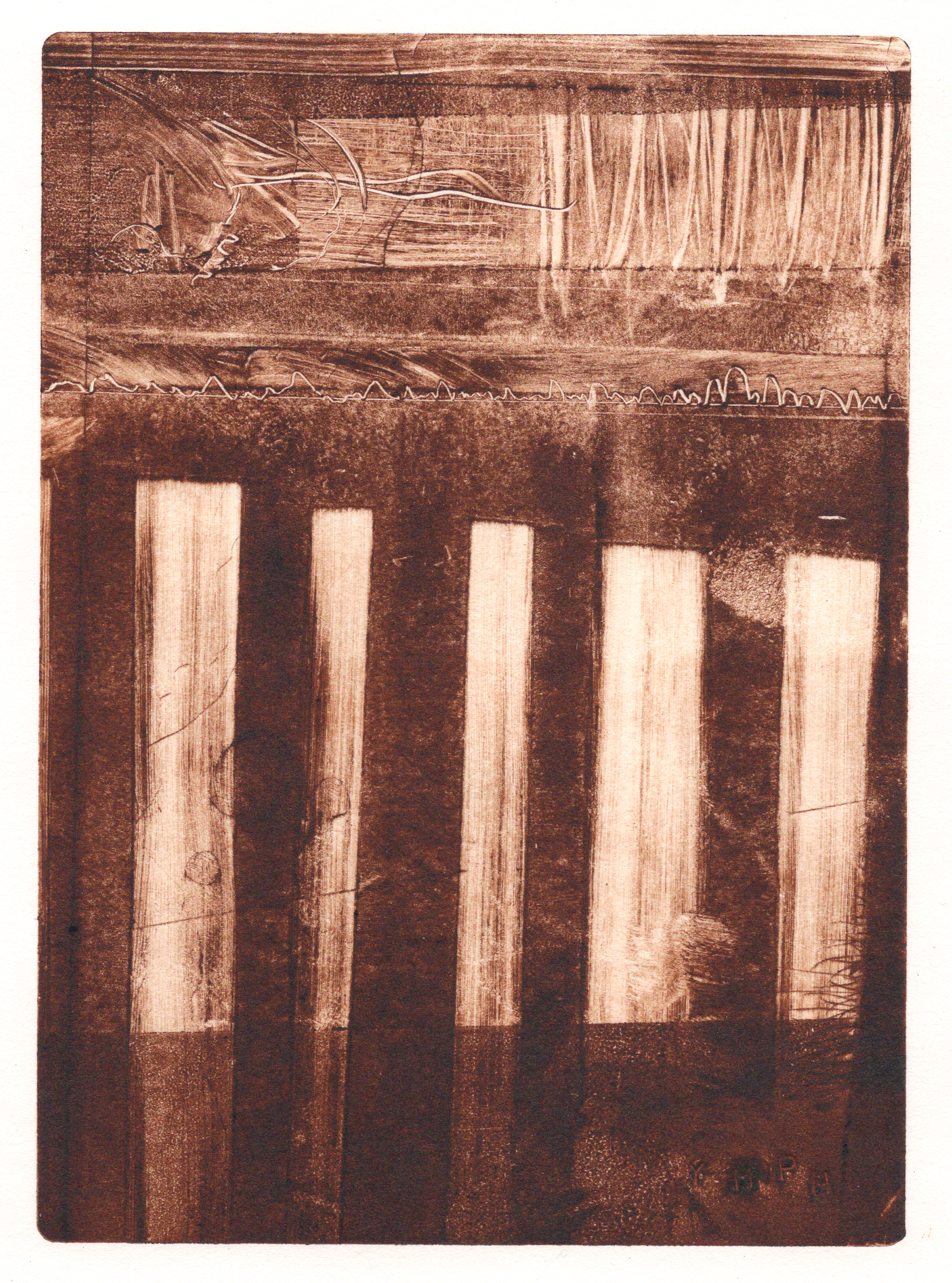 A monotype print by Clive Knights experimenting with umber ink on paper
