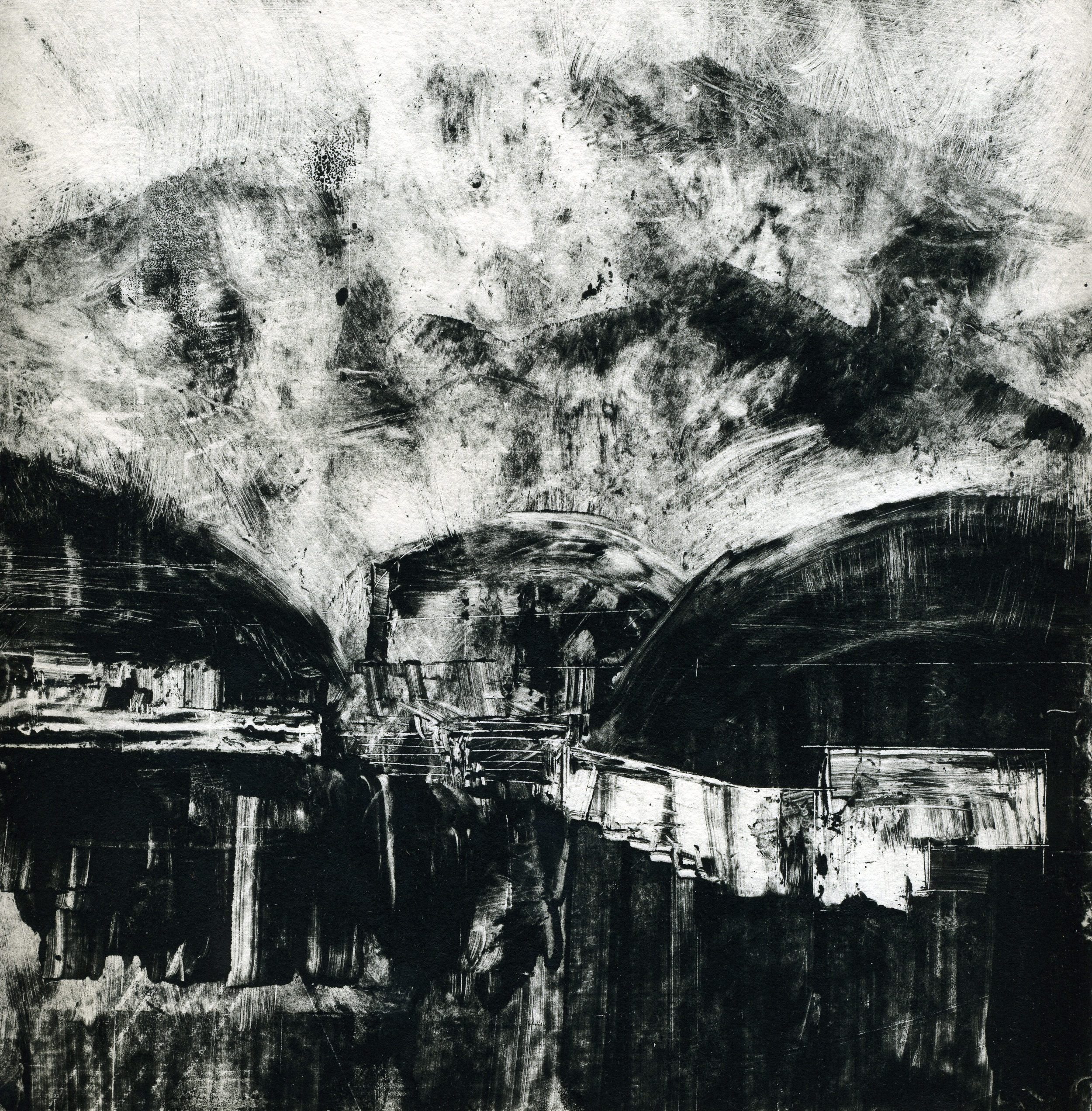 A monotype print by Clive Knights inspired by a visit to the Massa Carrara marble mines