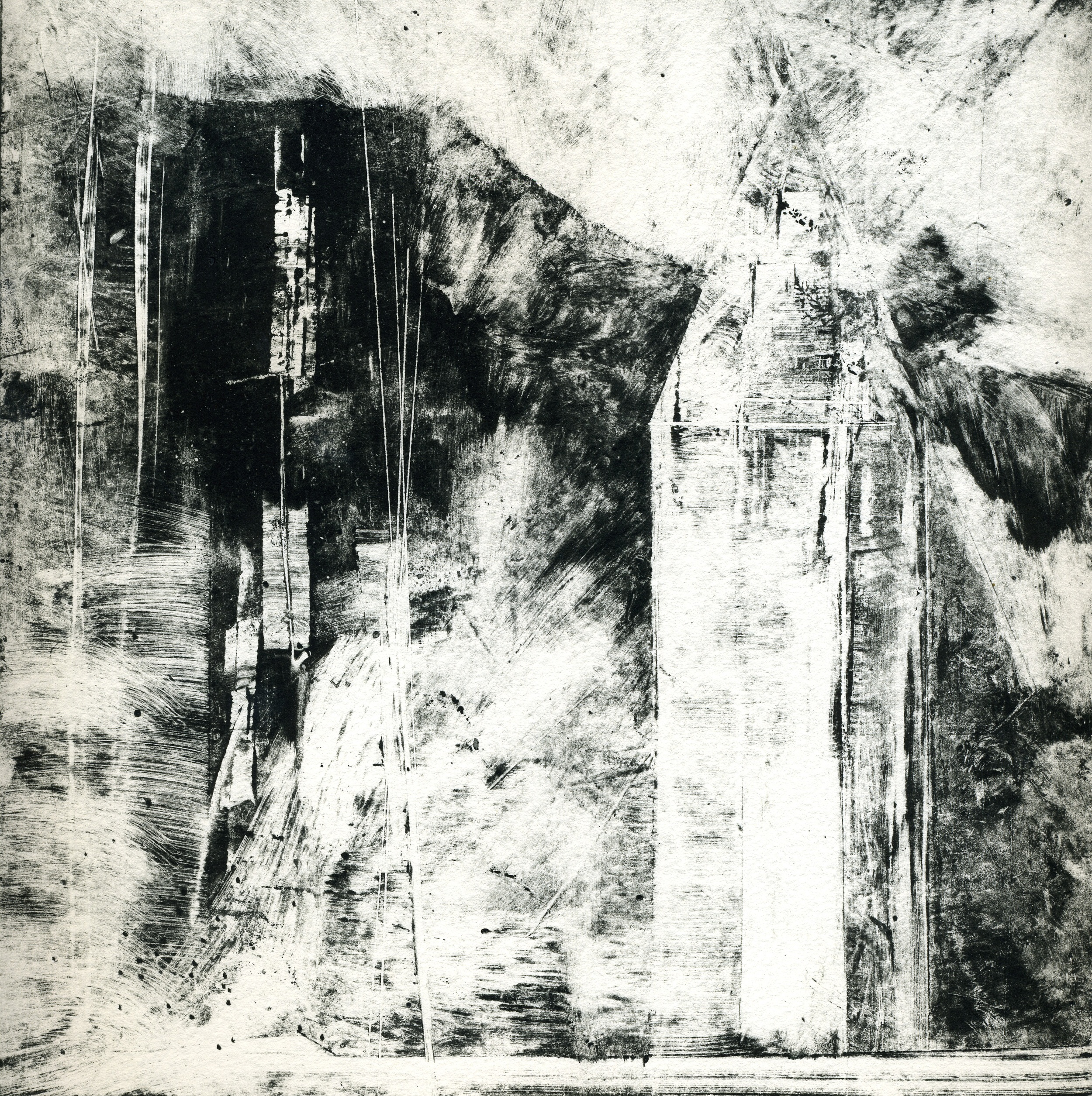 A monotype print by Clive Knights from his Lunigiana series exploring experiences from his sabbatical in the Lunigiana