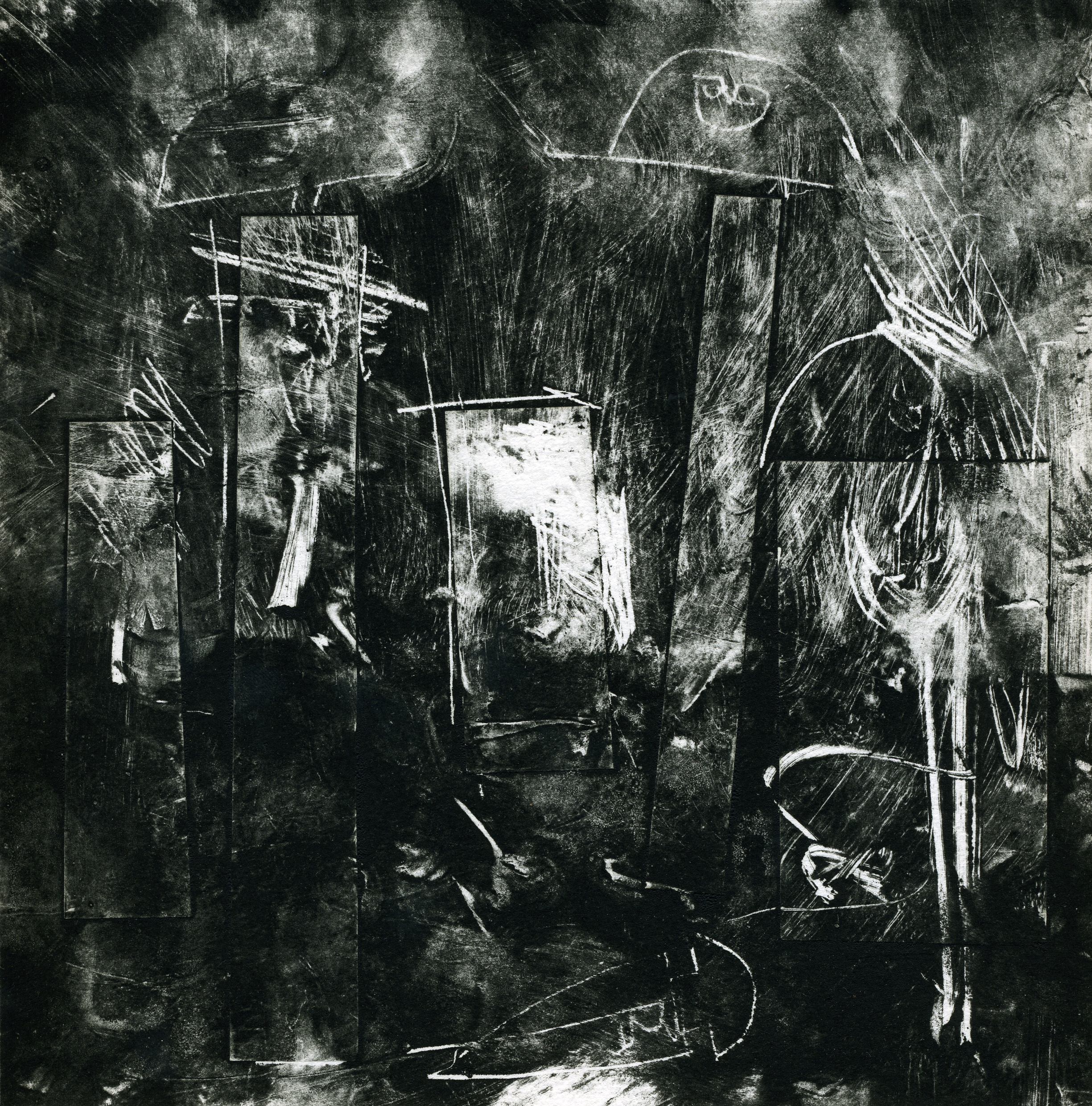A monotype print by Clive Knights studying the Statue-Stele of Lunigiana