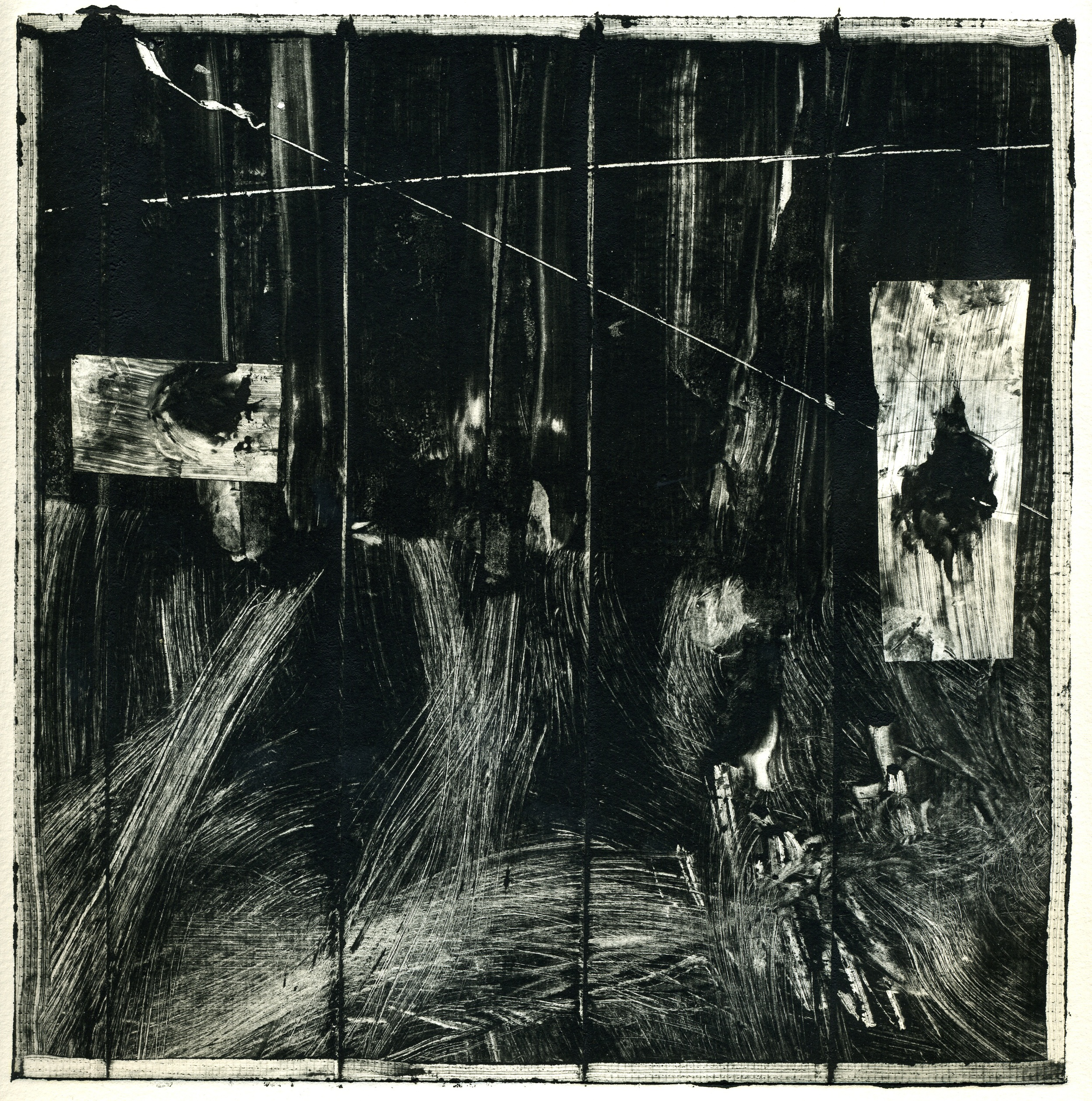 A monotype print by Clive Knights from his Lunigiana series studying his sabatacle in Lunigiana