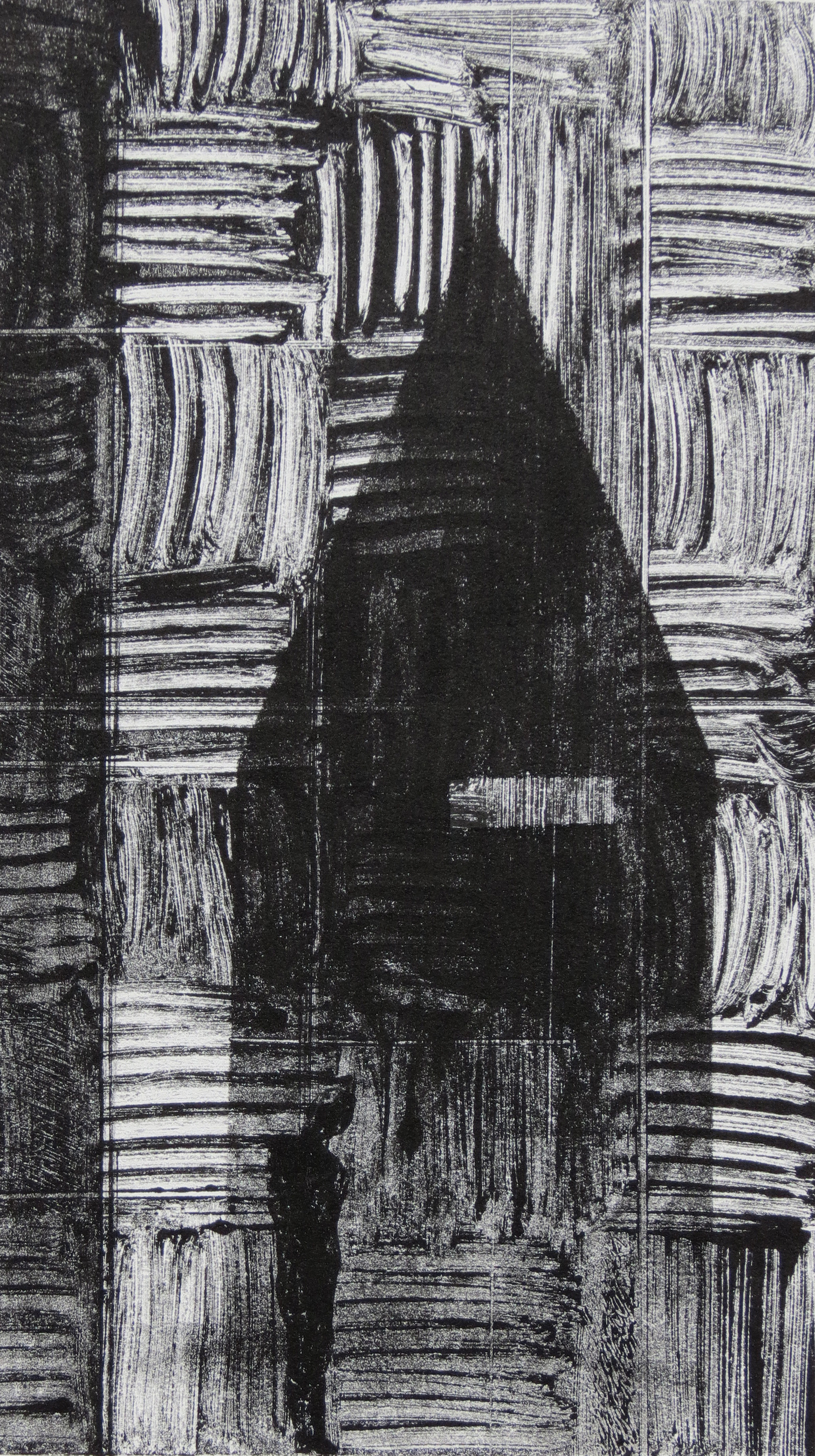 A monotype printby Clive Knights studying his custom designed studio and workspace the Corpus-Animus