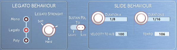 LEgato and Slide settings in the playback page