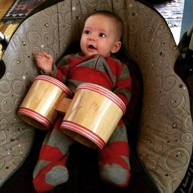 She's learning early :-) #yogaofdrumming