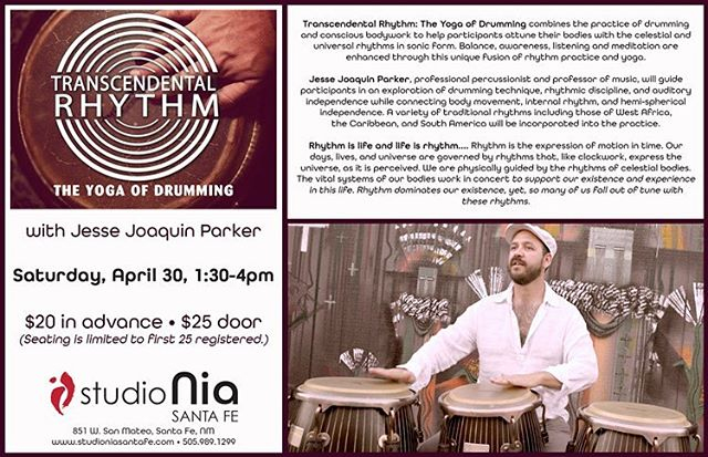 Tomorrow, Saturday, April 30 1:30 we will put some rhythms into the universe!#studioniasantafe register now to save$! #yogaofdrumming #santafe #handdrum #drumming #santafemusic