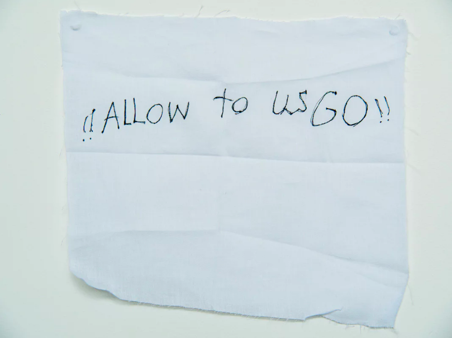 'Allow us to go': a message from  a detainee on Manus Island .  Photograph: David T Young/ Penny Ryan