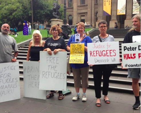 Vigil for refugees in detention, State Library Victoria, 26th January 2018.