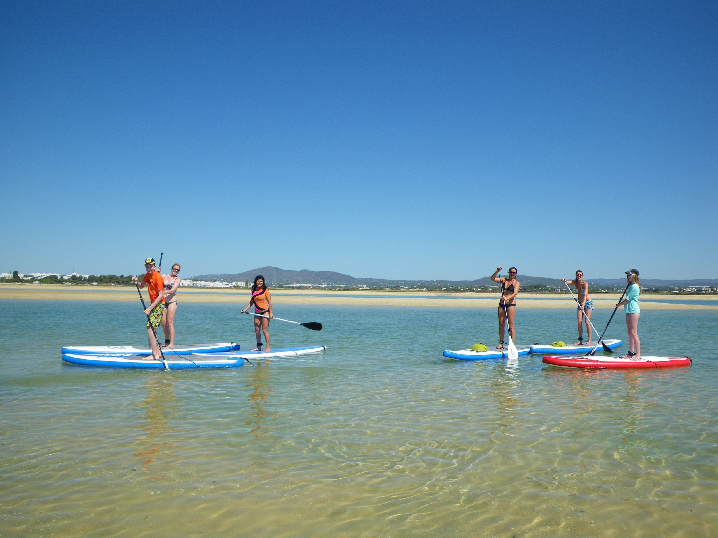 SUP, or Stand up Paddling, in our Paddleboarding Paradise at Fuzeta, in the Ria Formosa, between Faro and Tavira in the Algarve, Portugal