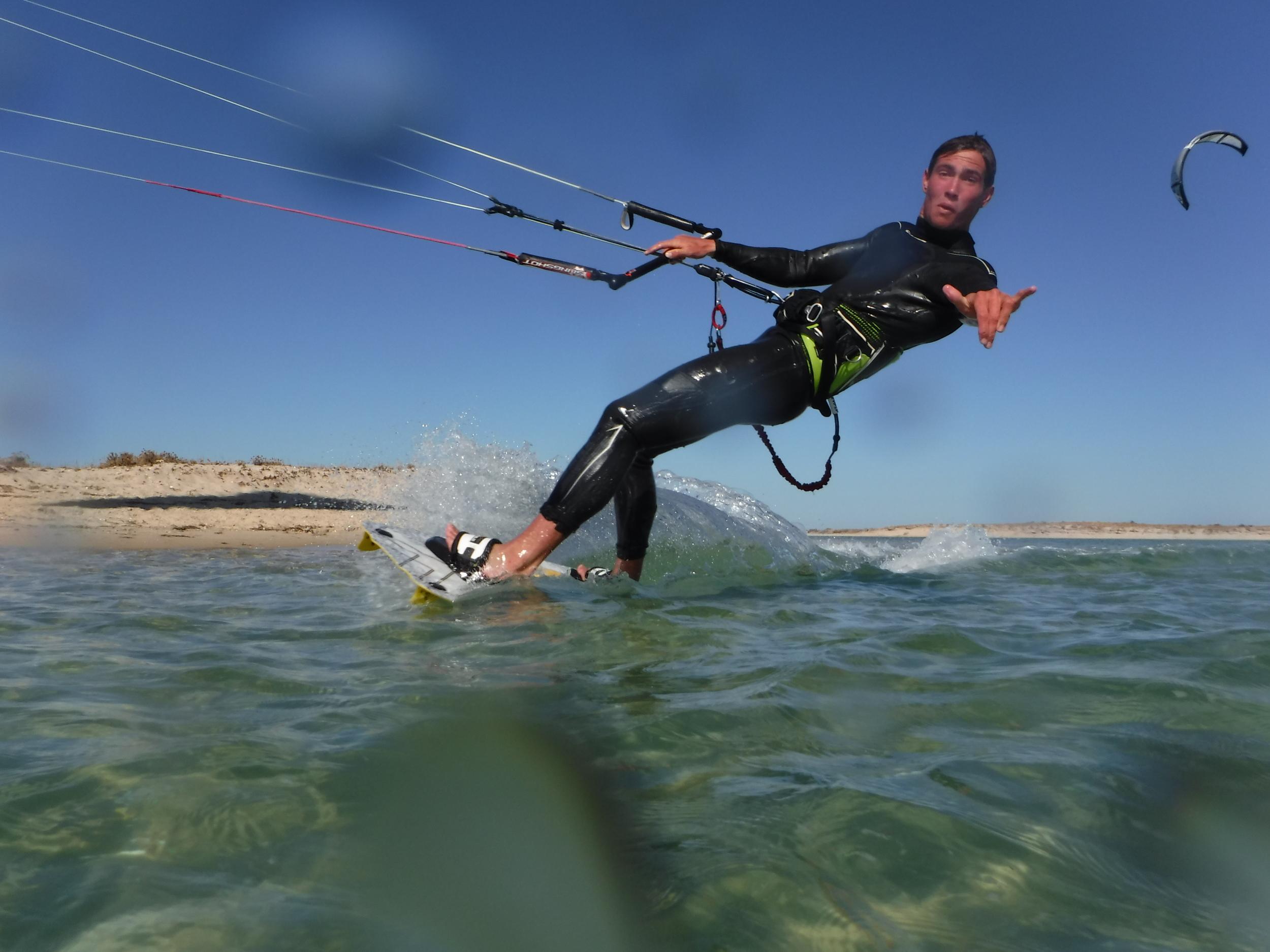 Kitesurfing in our Kiteboarding Paradise at Fuzeta, in the Ria Formosa, near Faro and Tavira in the Algarve, Portugal