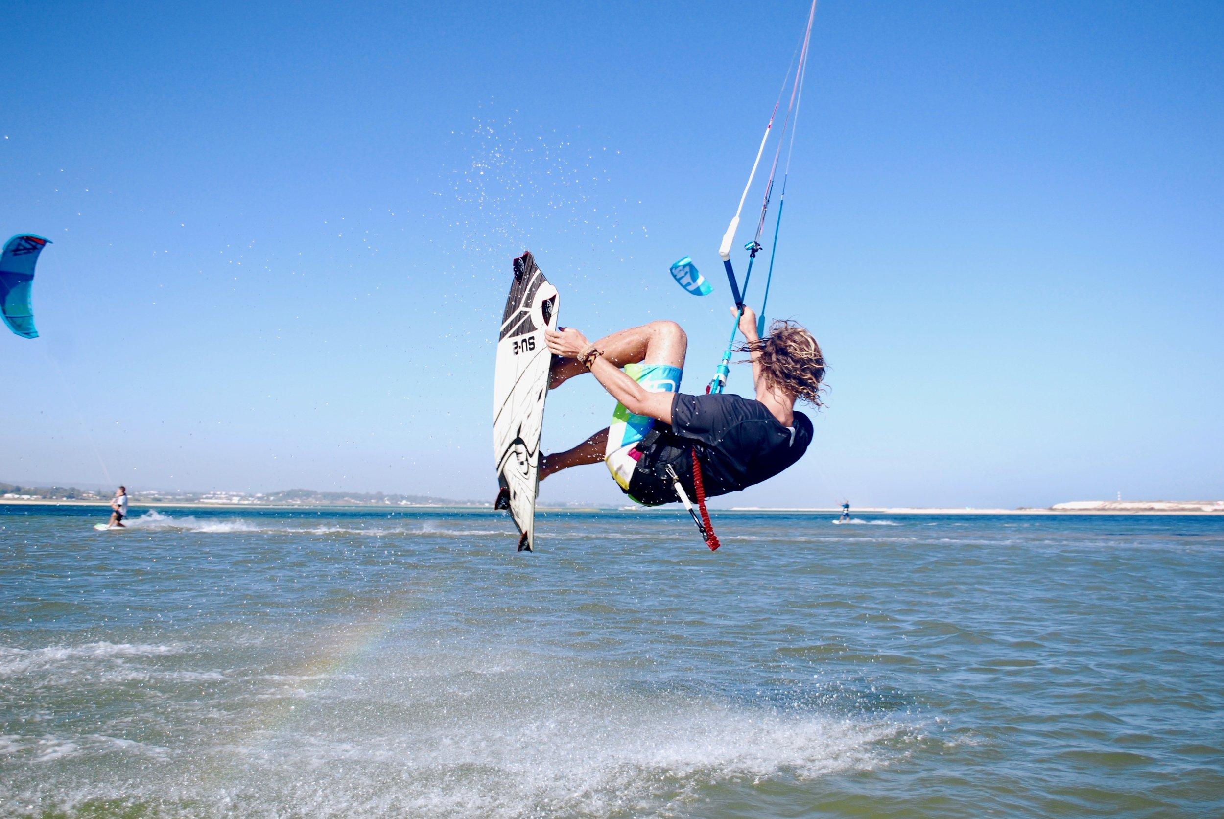 Kitesurfing - Fuseta Lagoon, Faro, Algarve, Portugal