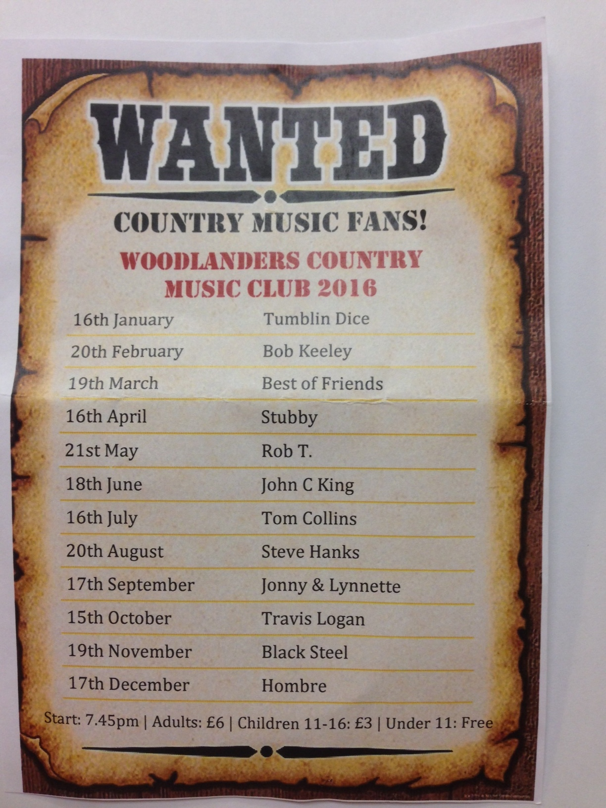 2016 Country Music Schedule