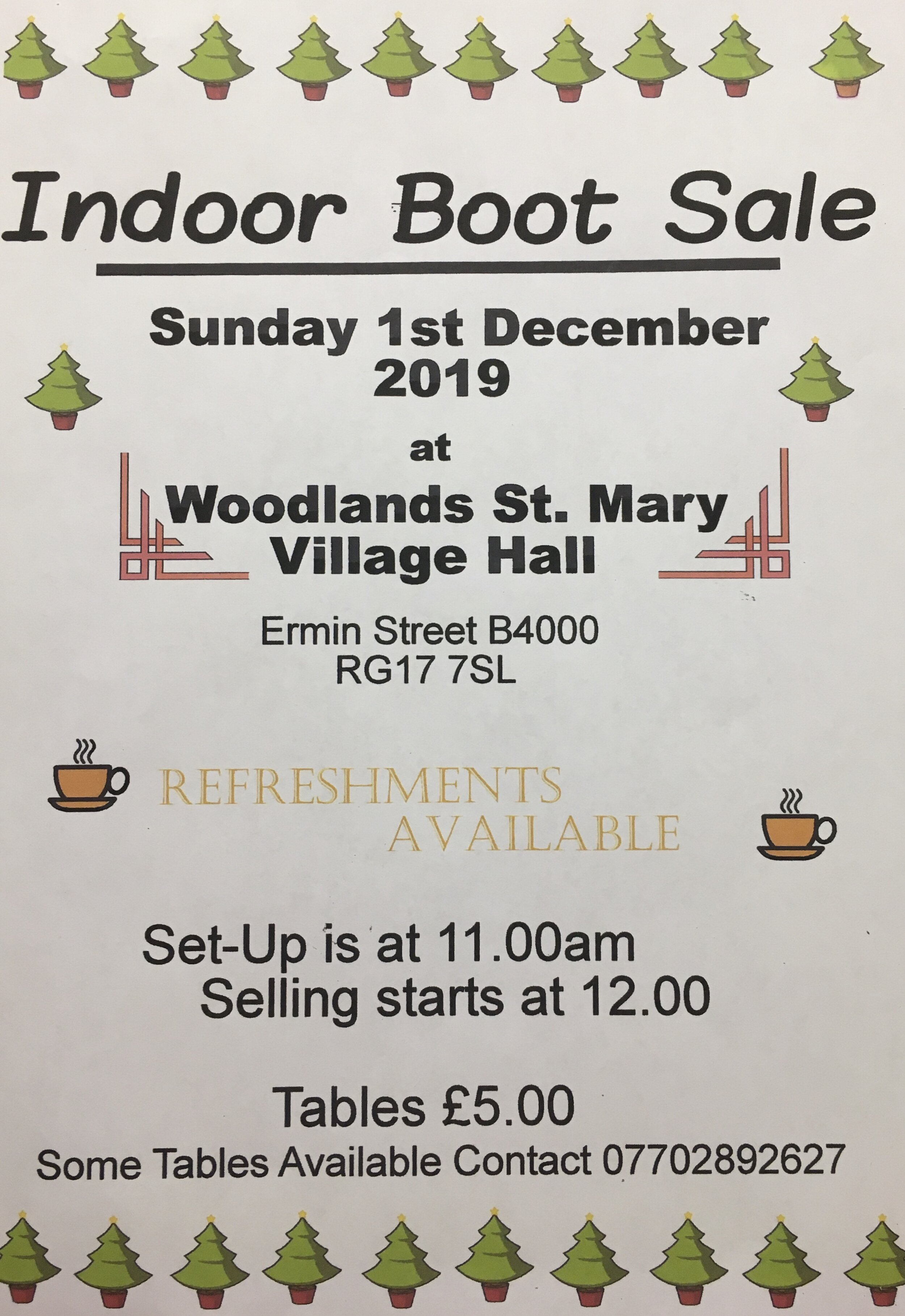 Woodlands St Mary Village Hall indoor Boot Sale