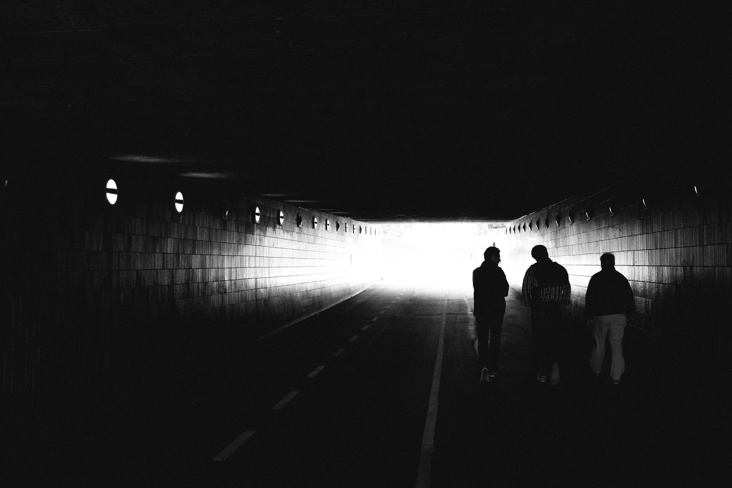 Three guys in tunnel, Danvikstull, Stockholm