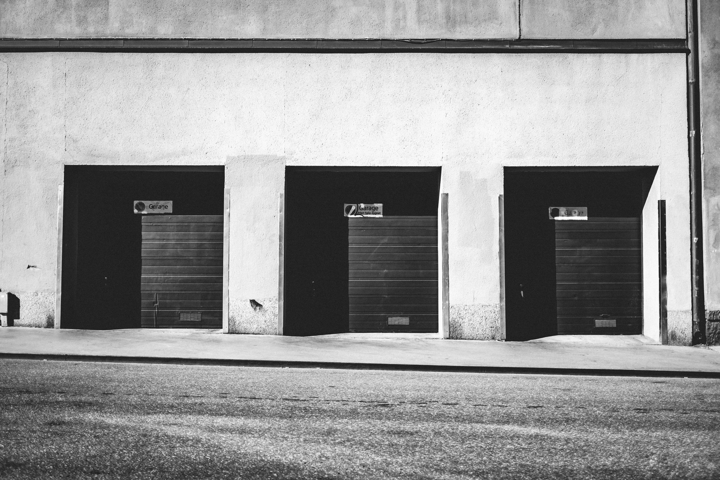 Three garage doors, Kungsholmen, Stockholm