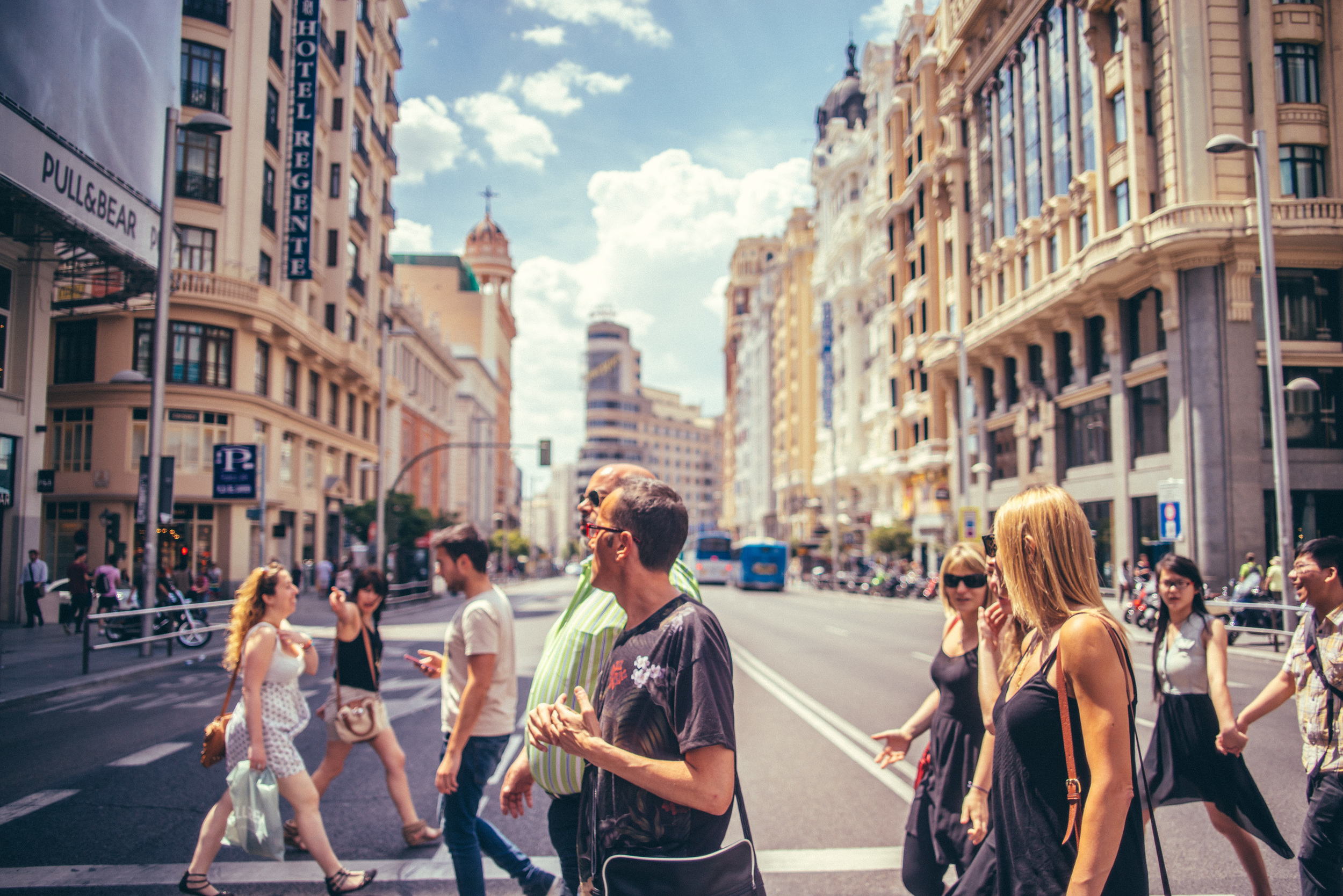 Gran Via Crossing, Madrid, Spain