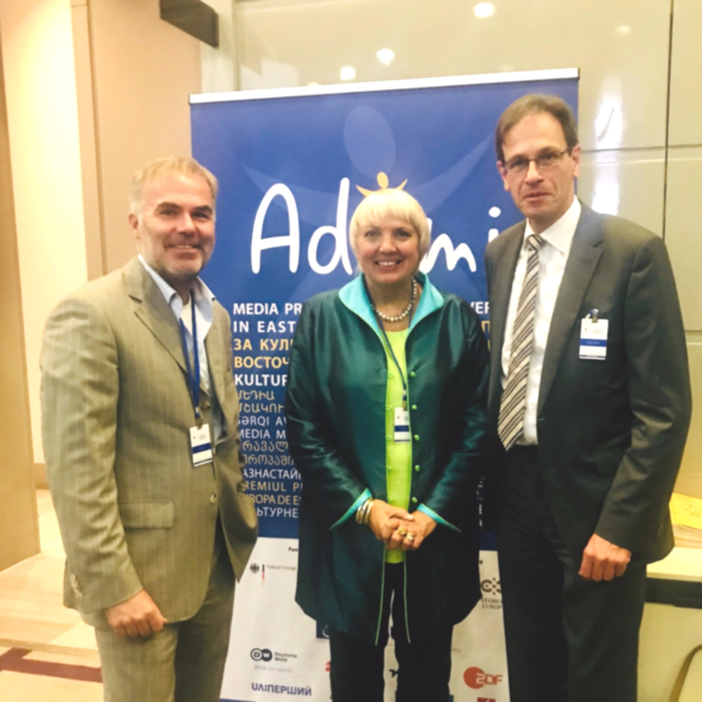 from the right: Mr. Hubert Knirsch, Ambassador of the Federal Republic of Germany to Georgia, Mrs. Claudia Roth, Vice President of the German Bundestag and Mr.Stefan Tolz, ADAMI Programme Director at the 16th Batumi International Conference