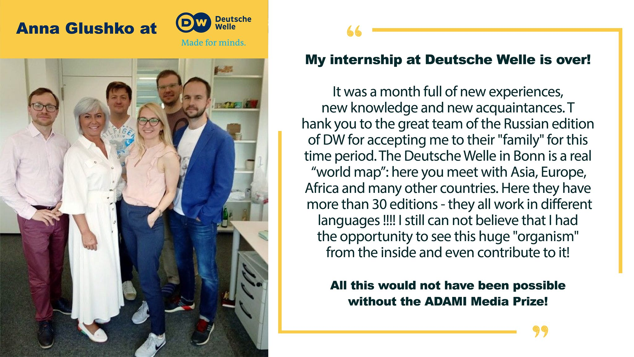 Anna's Fellowship at DW has successfully ended  ADAMI is proud to be the internship provider for our participants!
