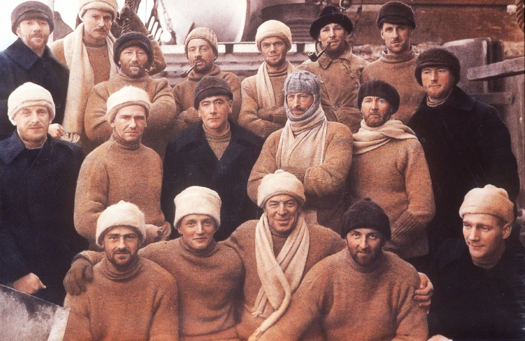 "Return of the ""Discovery"" expedition from Antartica in 1931 (the Heroic Age of Antarctic Exploration).     *Those who did not get the memo about camel and navy were excluded from the group portrait, and consequently, the annuls of history."