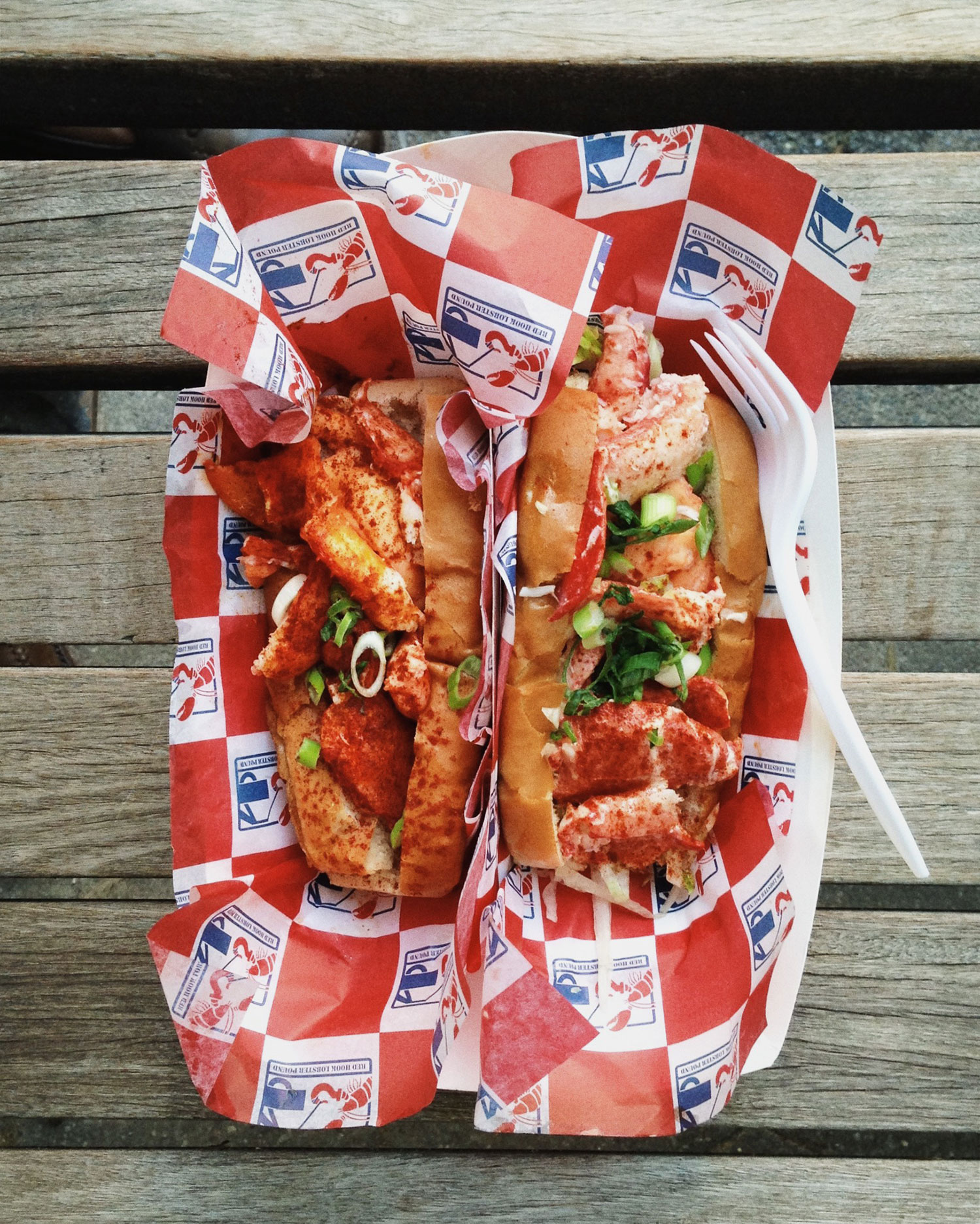 Connecticut style (right) and Maine style (left) lobster rolls ($16).