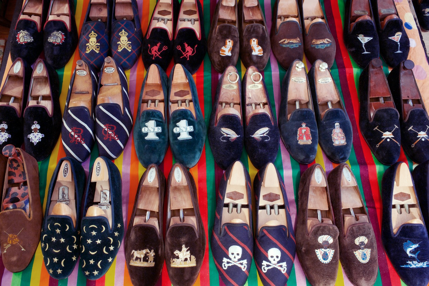 Cary's Prince Albert velvet slipper collection rivals his books.